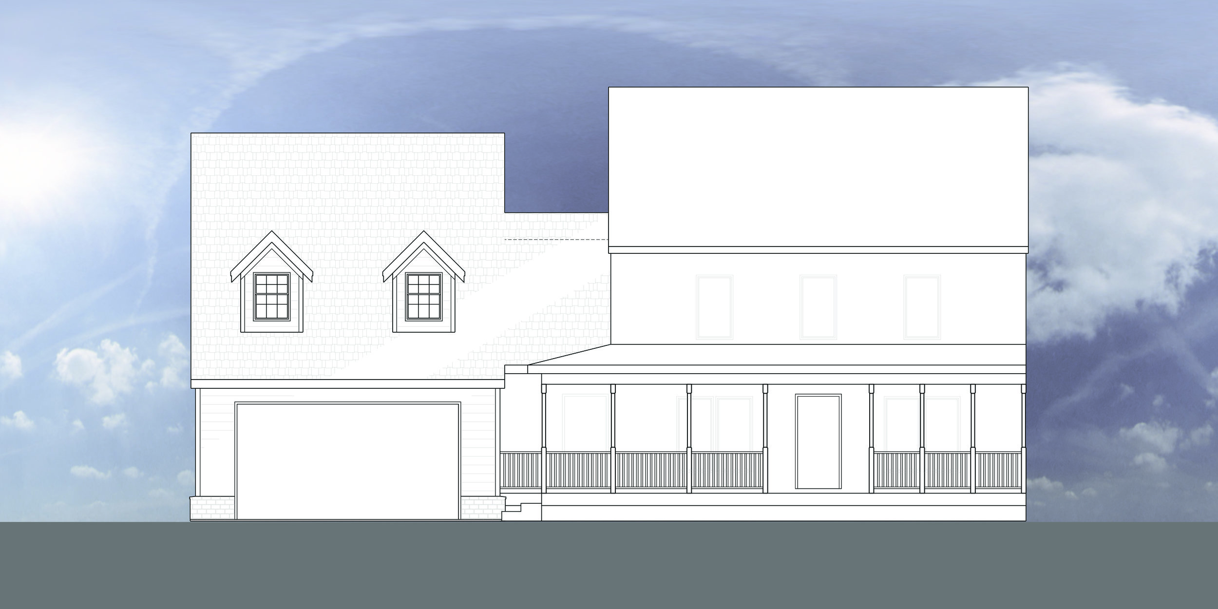 Front exterior elevation showing existing and new addition