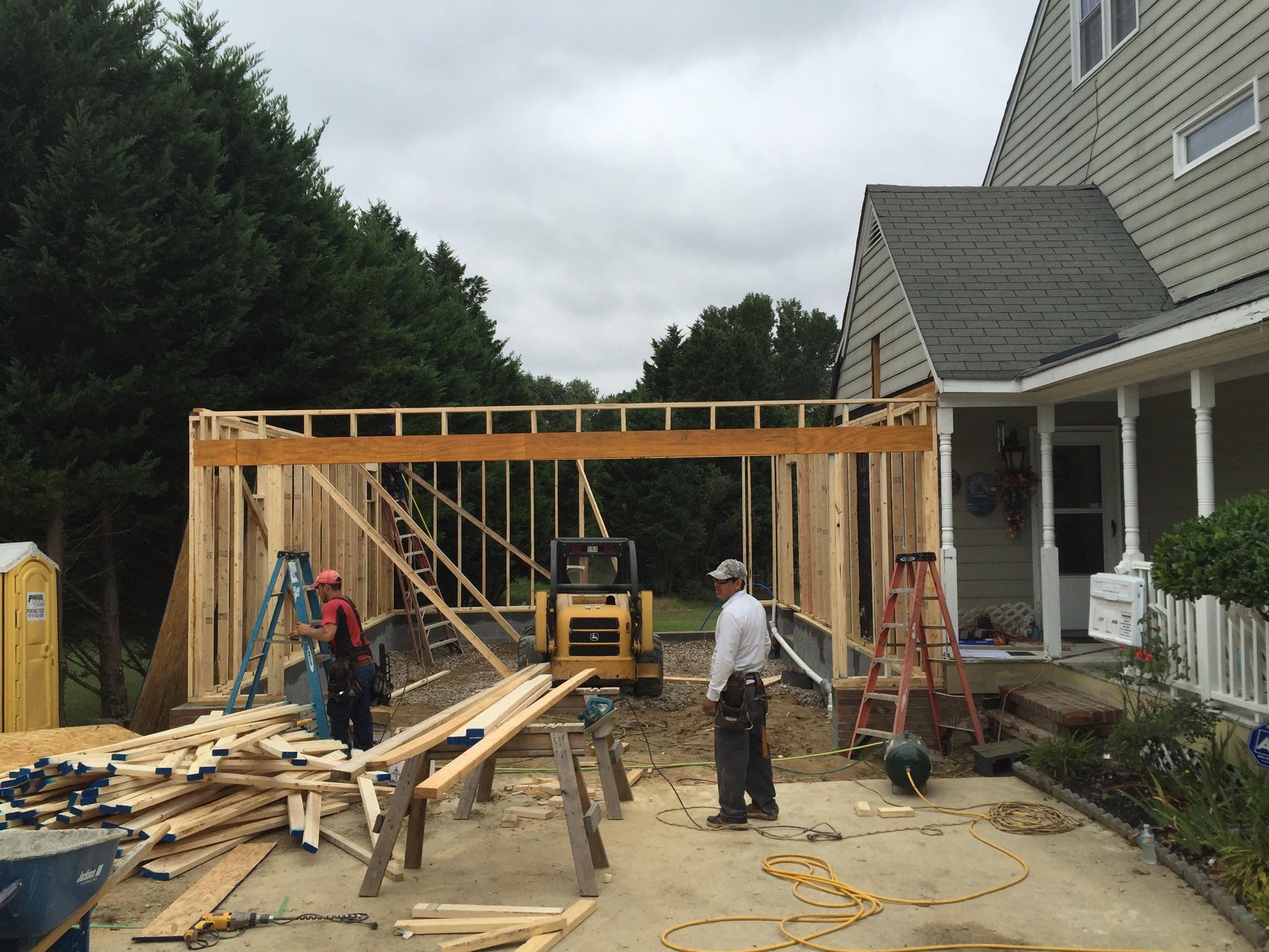 The garage addition wall framing. Photograph by Lloyd Dunn.