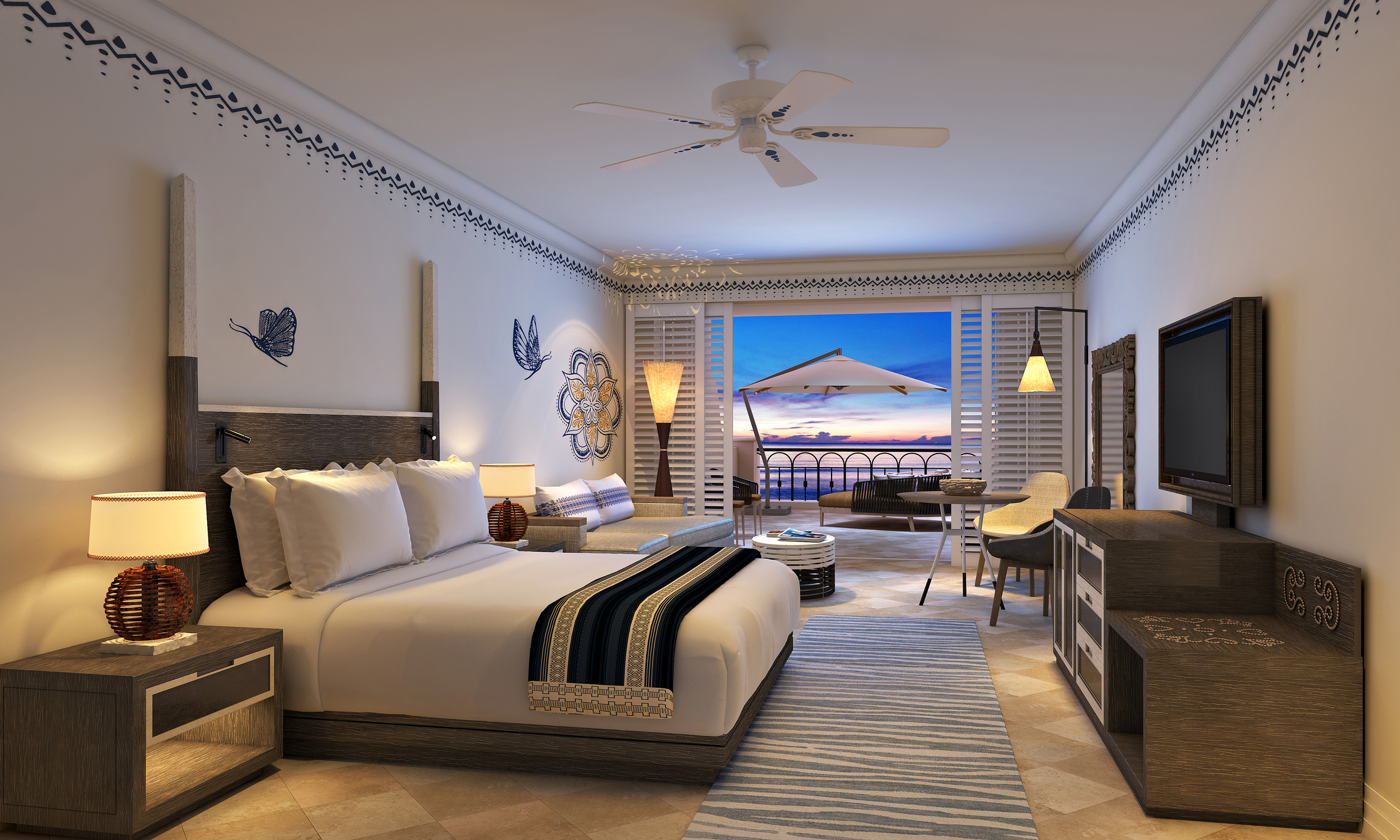 The stunning guest rooms at The Hilton Los Cabos Beach & Golf Resort complete with a ocean view
