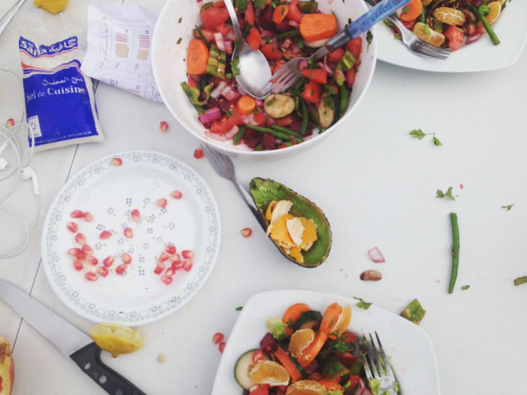 Moroccan Salad making is a little wild 🍋🍆🍅🍠🌶🍈 @ashleybeer @runningonstoke