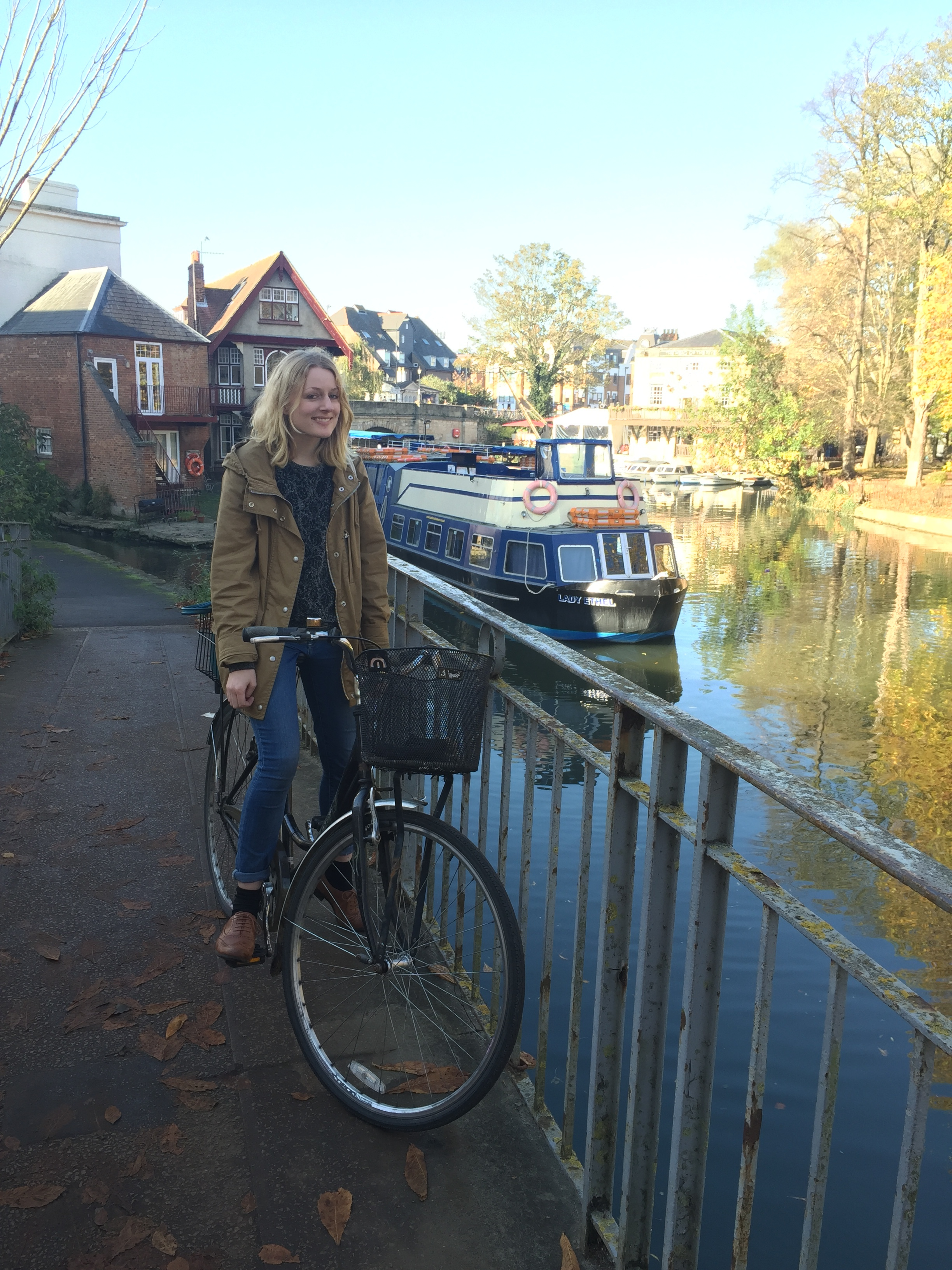 This is me with my bike that rattles as I cycle because the lock jangles in the basket. All the best bikes rattle.