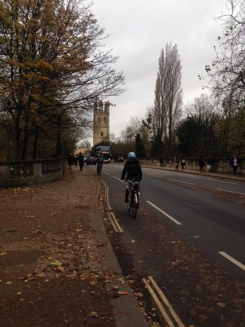 Cyclists on Magdalen Bridge, Oxford