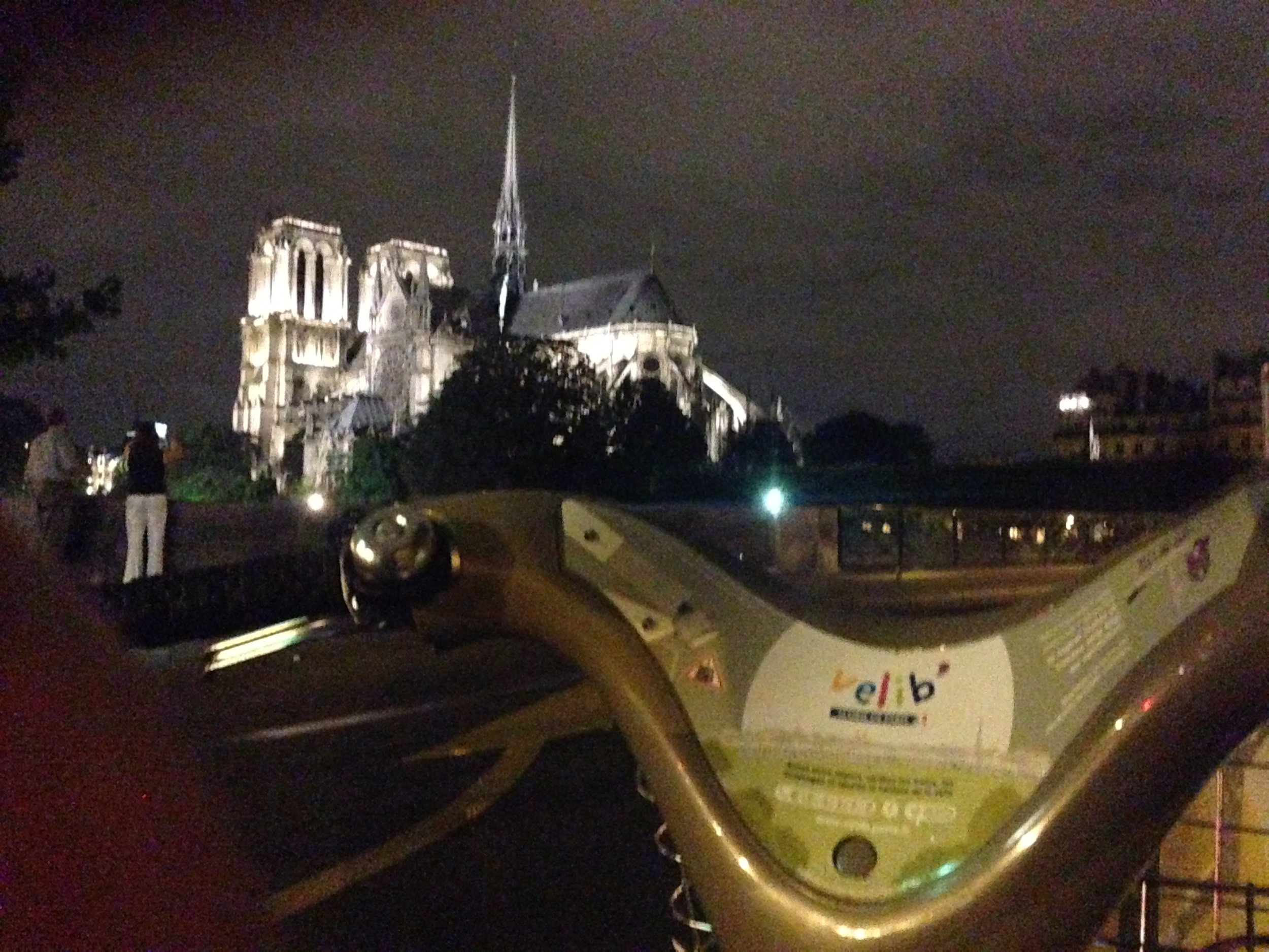 Pedalling past the Notre-Dame at night