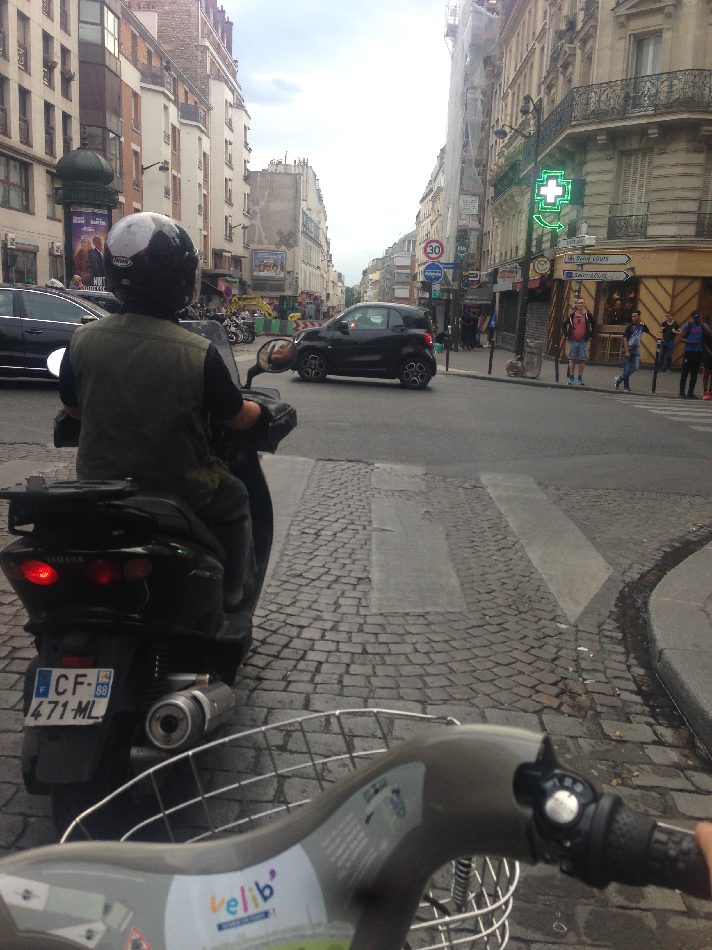 Racing a scooter along the boulevards