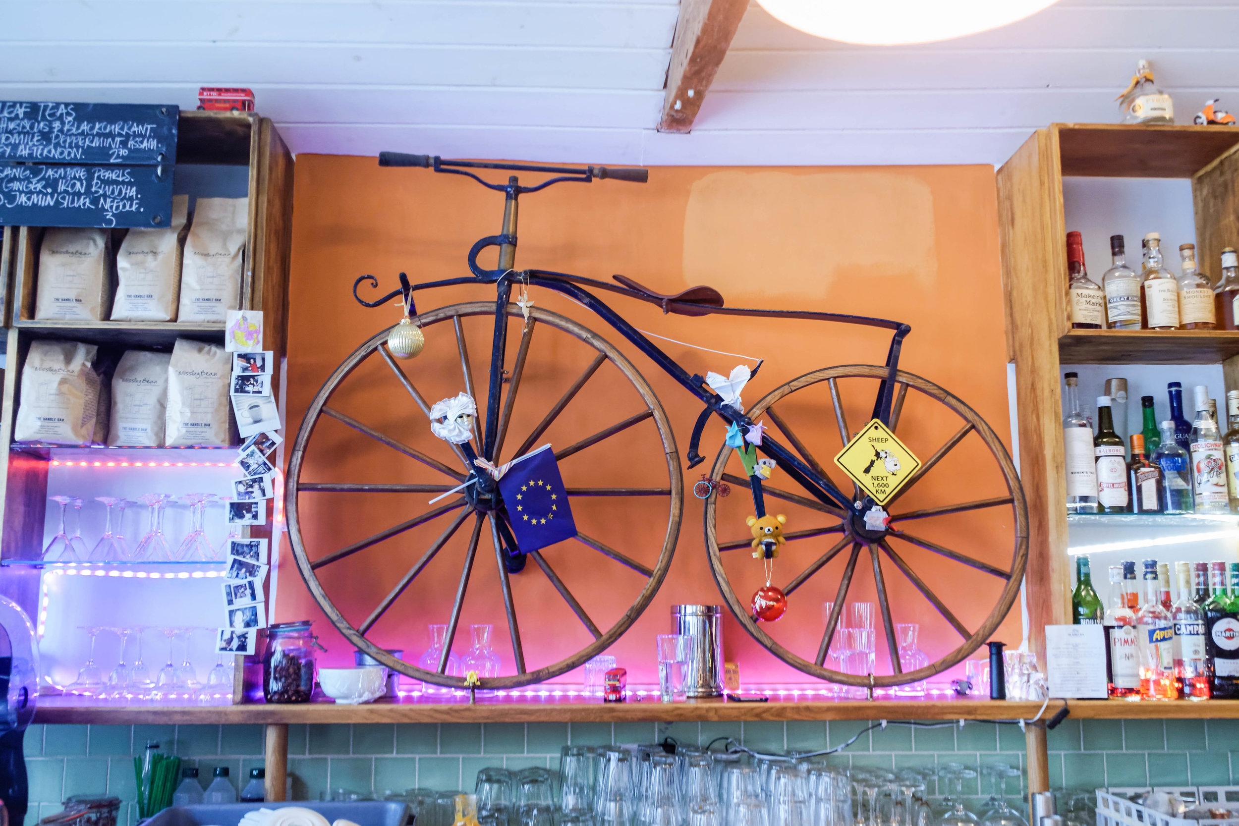 While you're thinking about what to order, check out all the vintage cycles decorating the place.