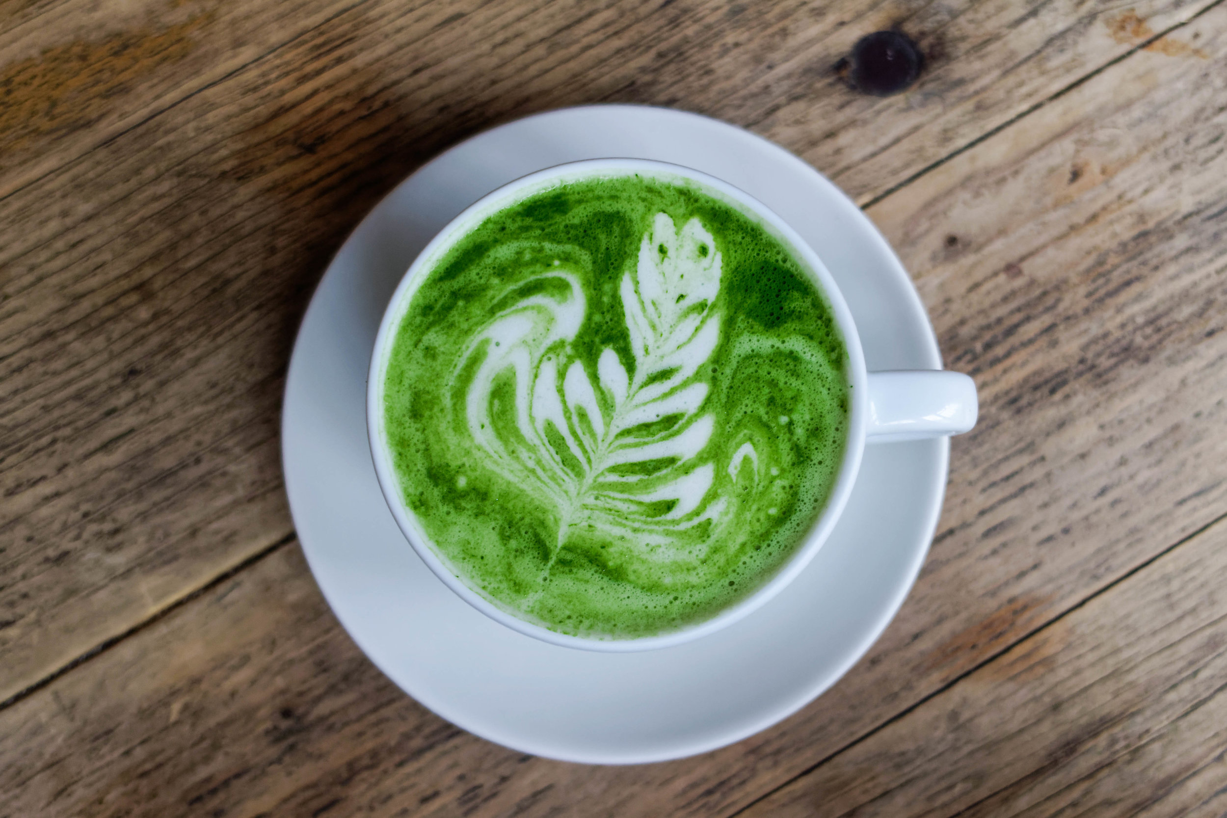 If you're not a huge fan of coffee, try the matcha latte, a green tea latte that packs quite a caffeine punch. It's also bright green—very seasonally appropriate!