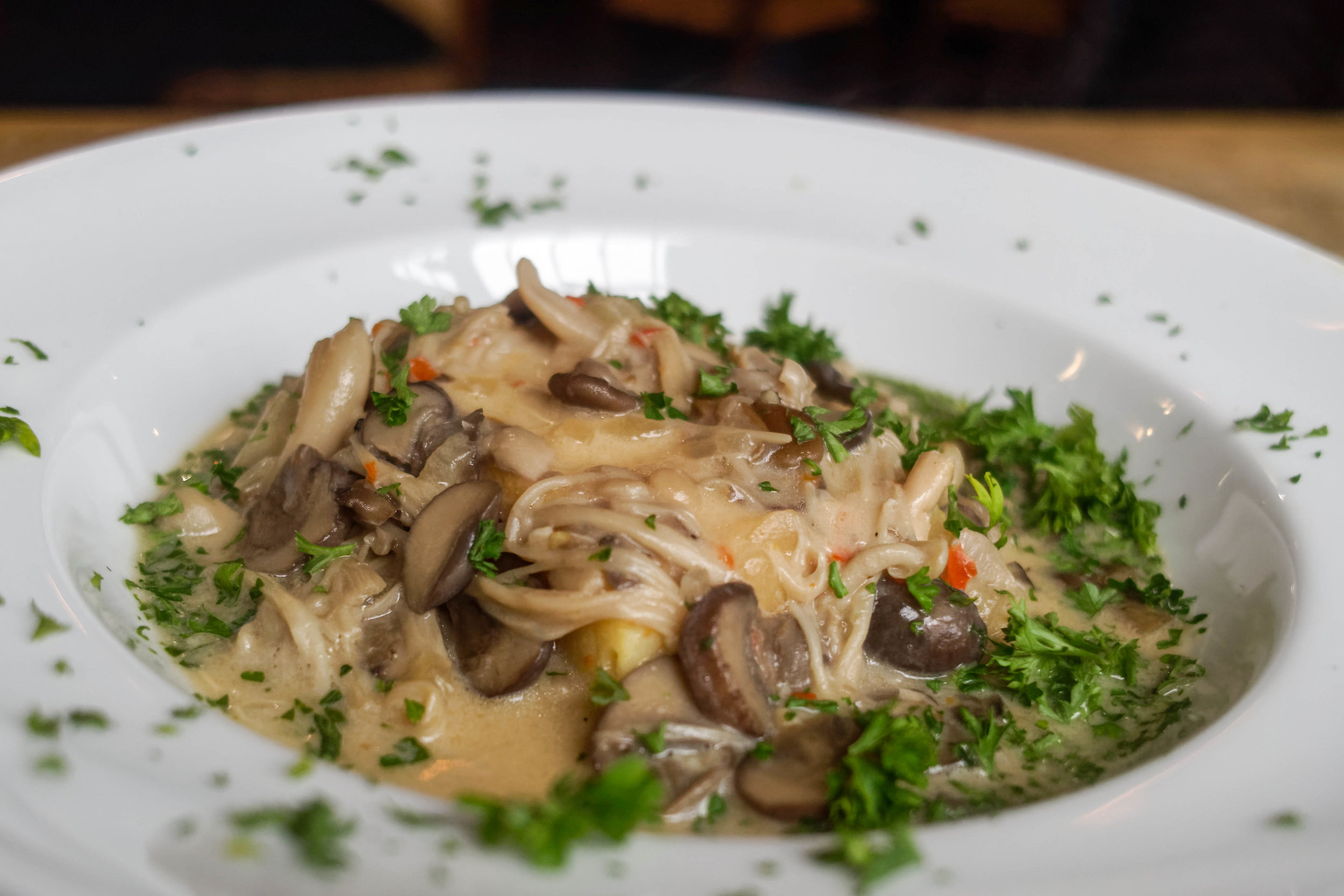 Wild mushroom and polenta, with a pop of spice from the chili.