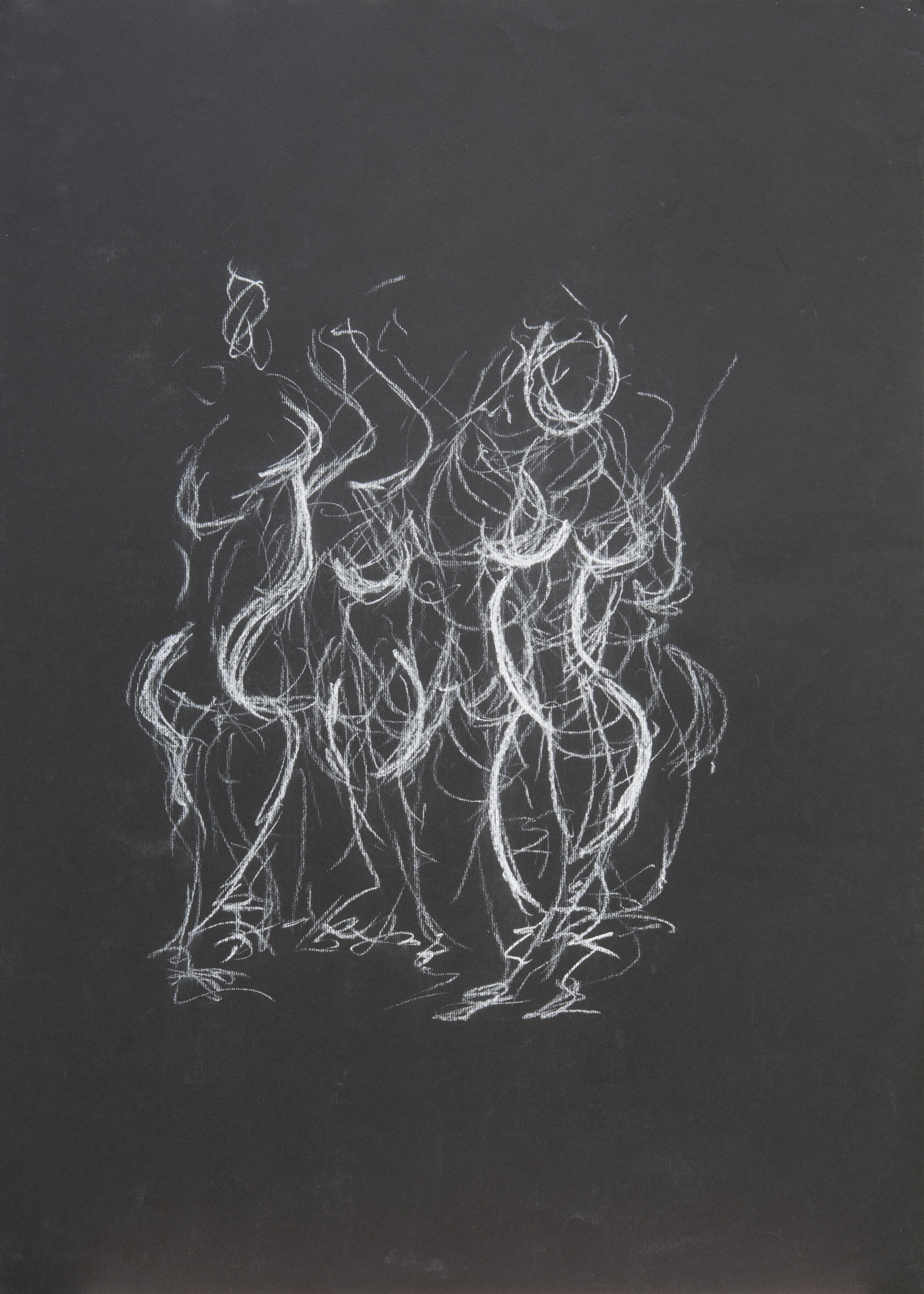 ©KAT 'Movement'   Dancing Figure -  chalk on black paper, ( 0,7 x 0,6 m )