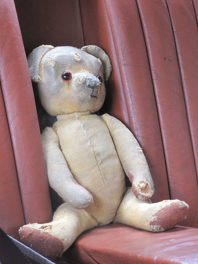 'Teddy,' Hilary King's childhood teddy bear who was made in 1954, the same year as the car