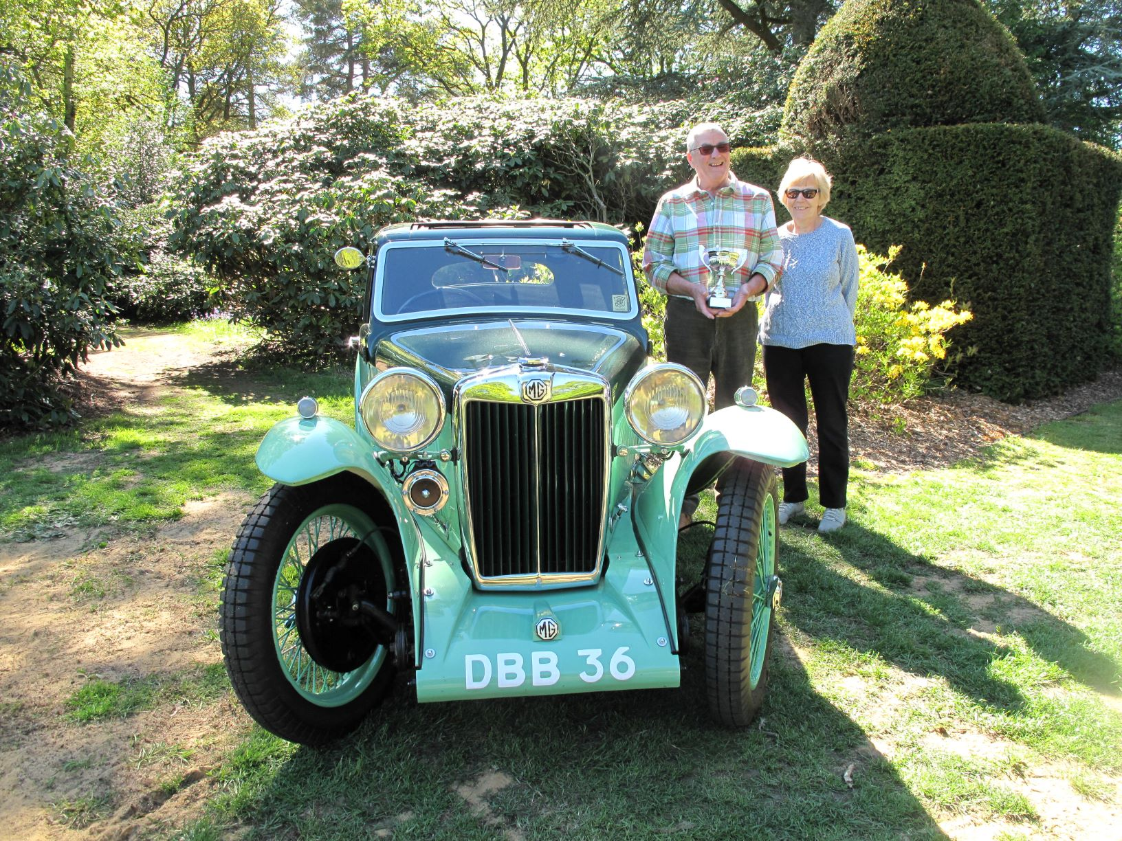 Ronald and Karen Loomes with their winning 1936 MG PB Airline Coupe (© Stody Lodge Gardens - high res available)