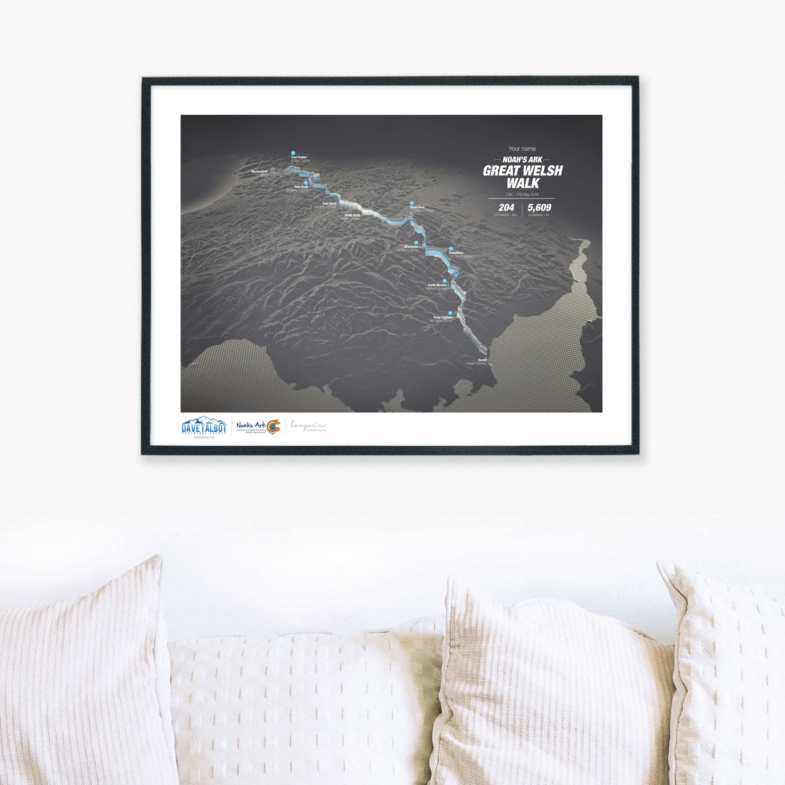 Noah's ArkGreat Welsh Walk - Personalised GPS prints of your adventure