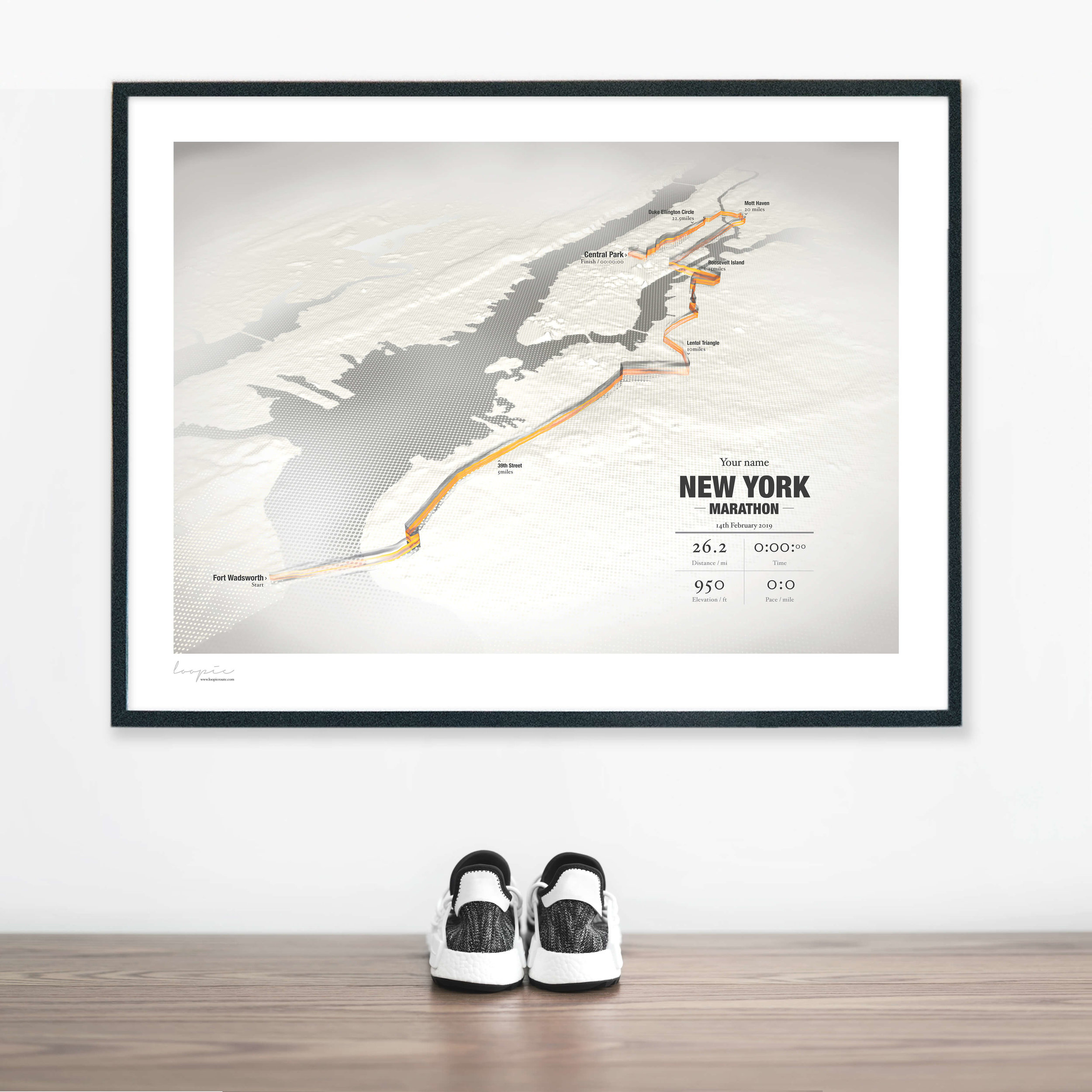 New YorkMarathon - A unique image personalised with your name and finishing time.