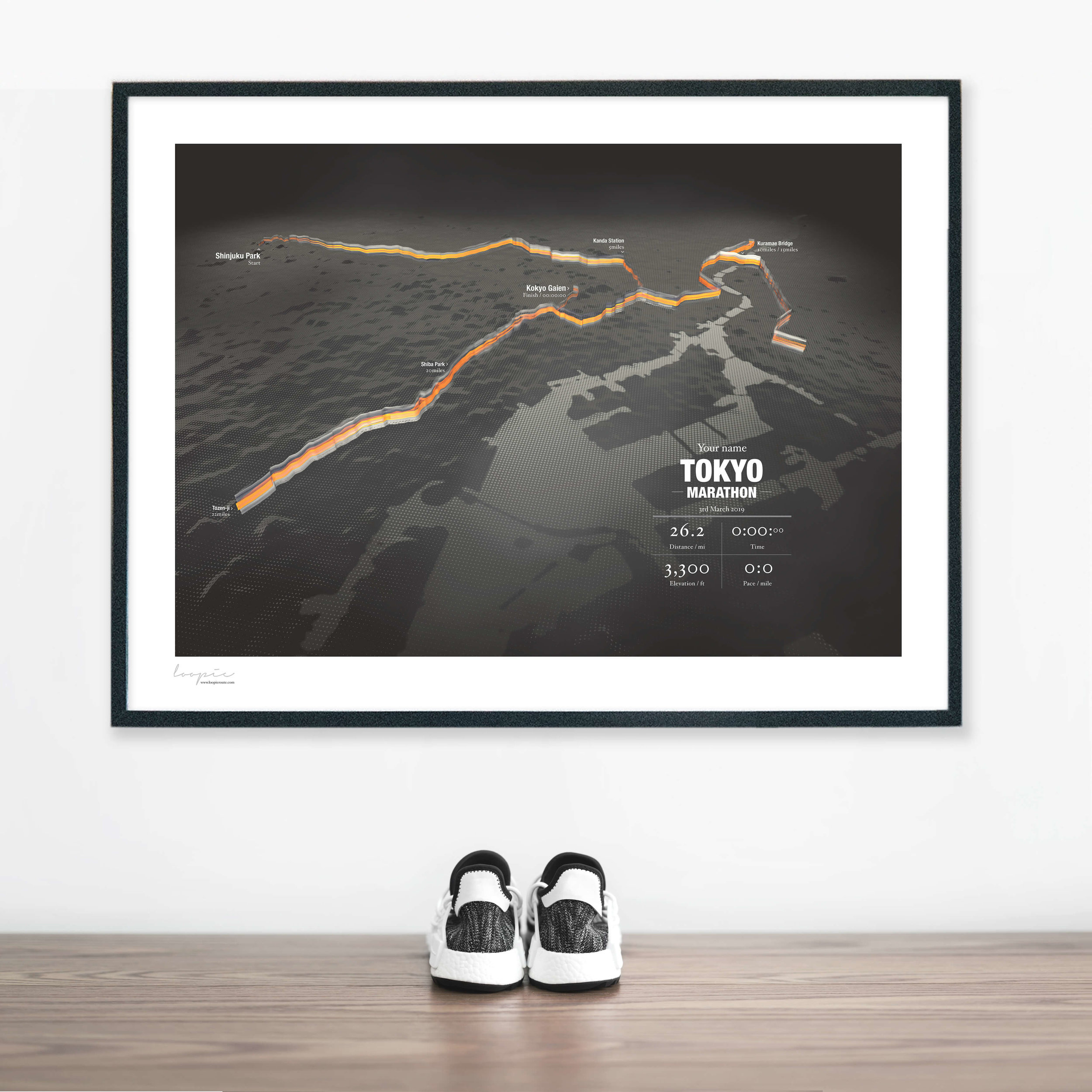 TokyoMarathon - A unique image personalised with your name and finishing time.