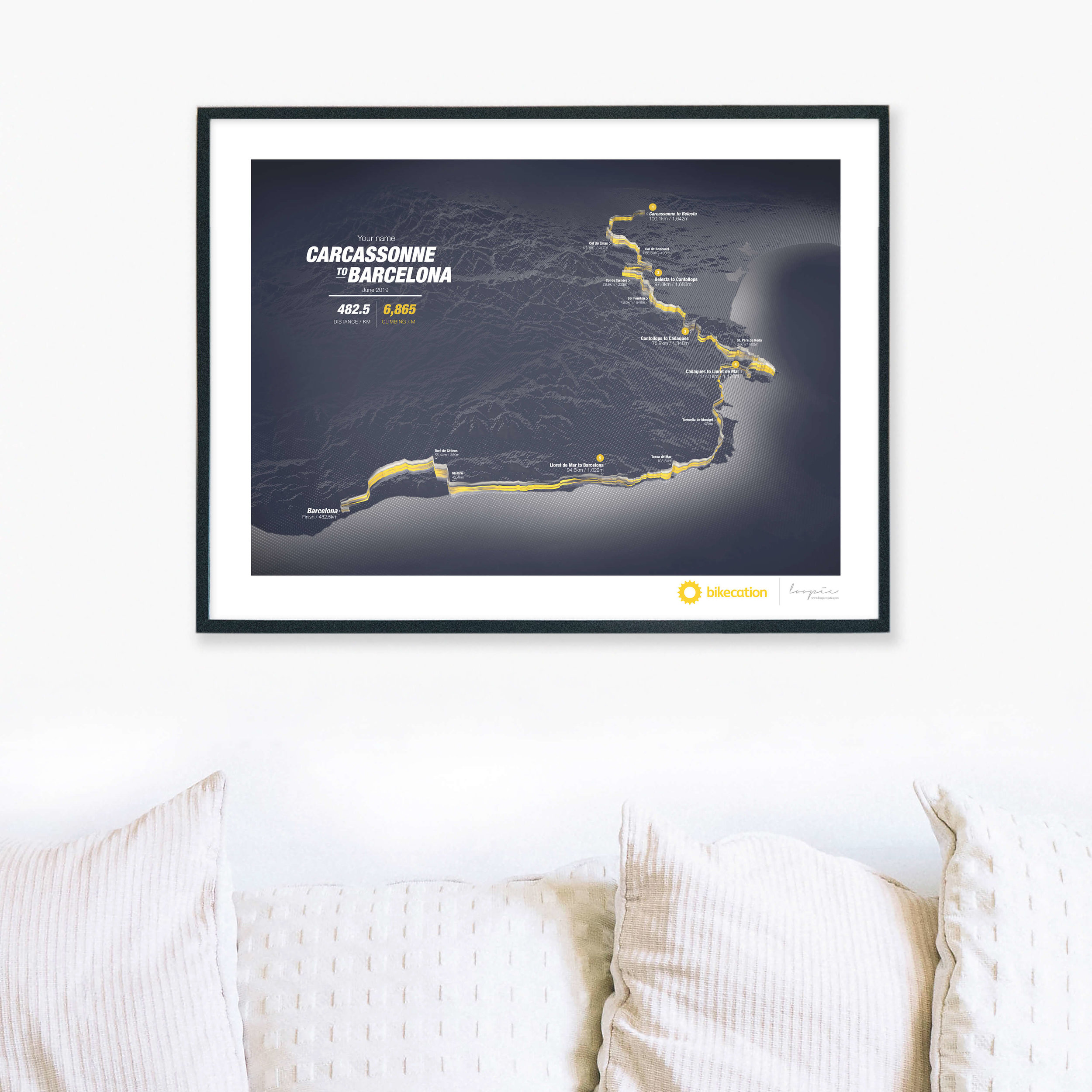 Carcasonne to Barcelona - Personalised GPS prints of your Bikecation adventure