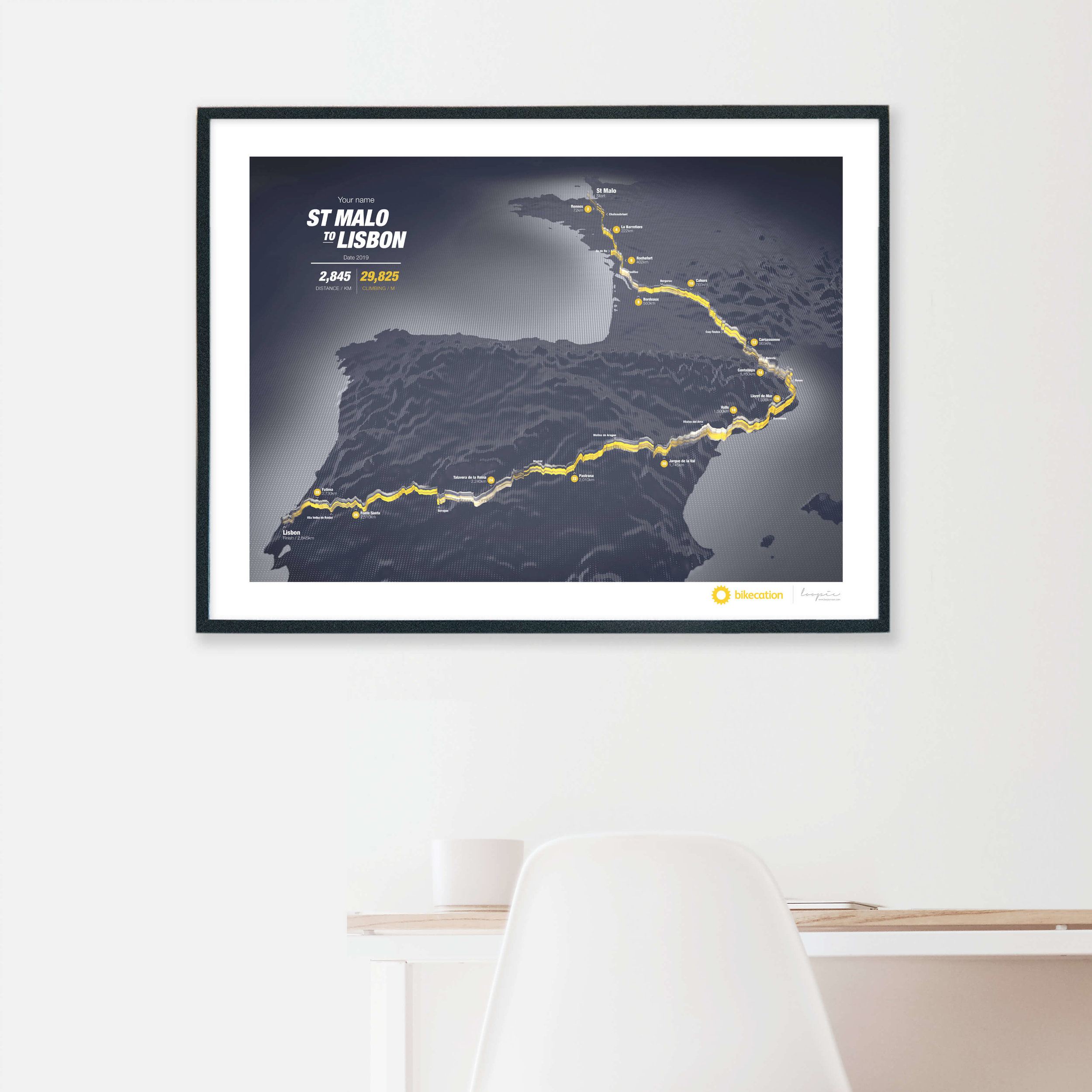 St Malo to Lisbon - Personalised GPS prints of your Bikecation adventure