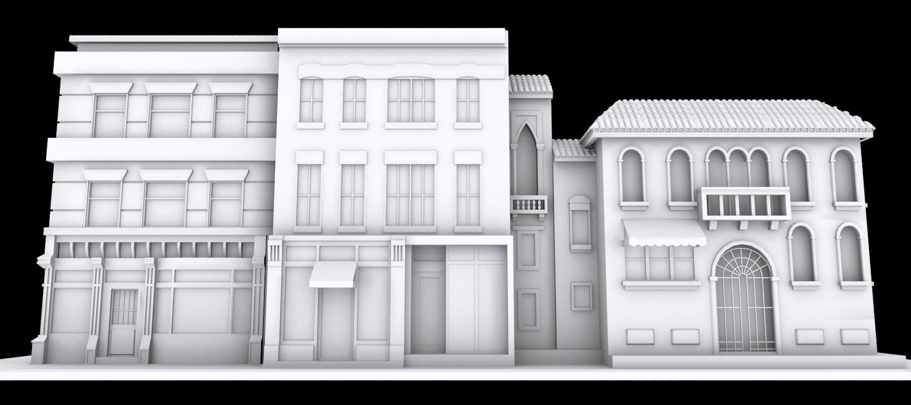 Earlier Iteration of Main Street (3ds Max)