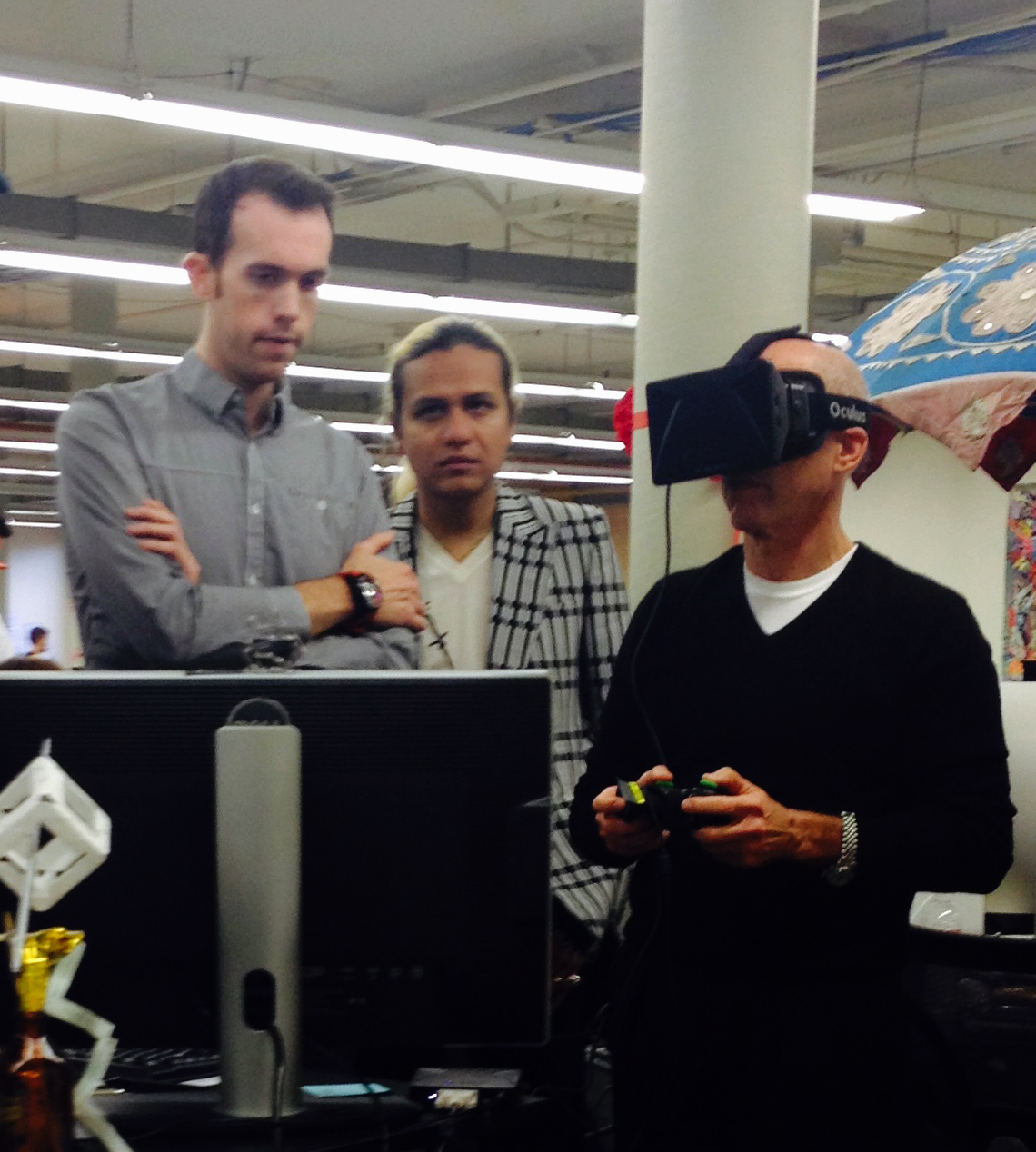 2014: Me with Jeffrey Katzenberg (in the Oculus DK1) looking at 'Dragons' in UE4.