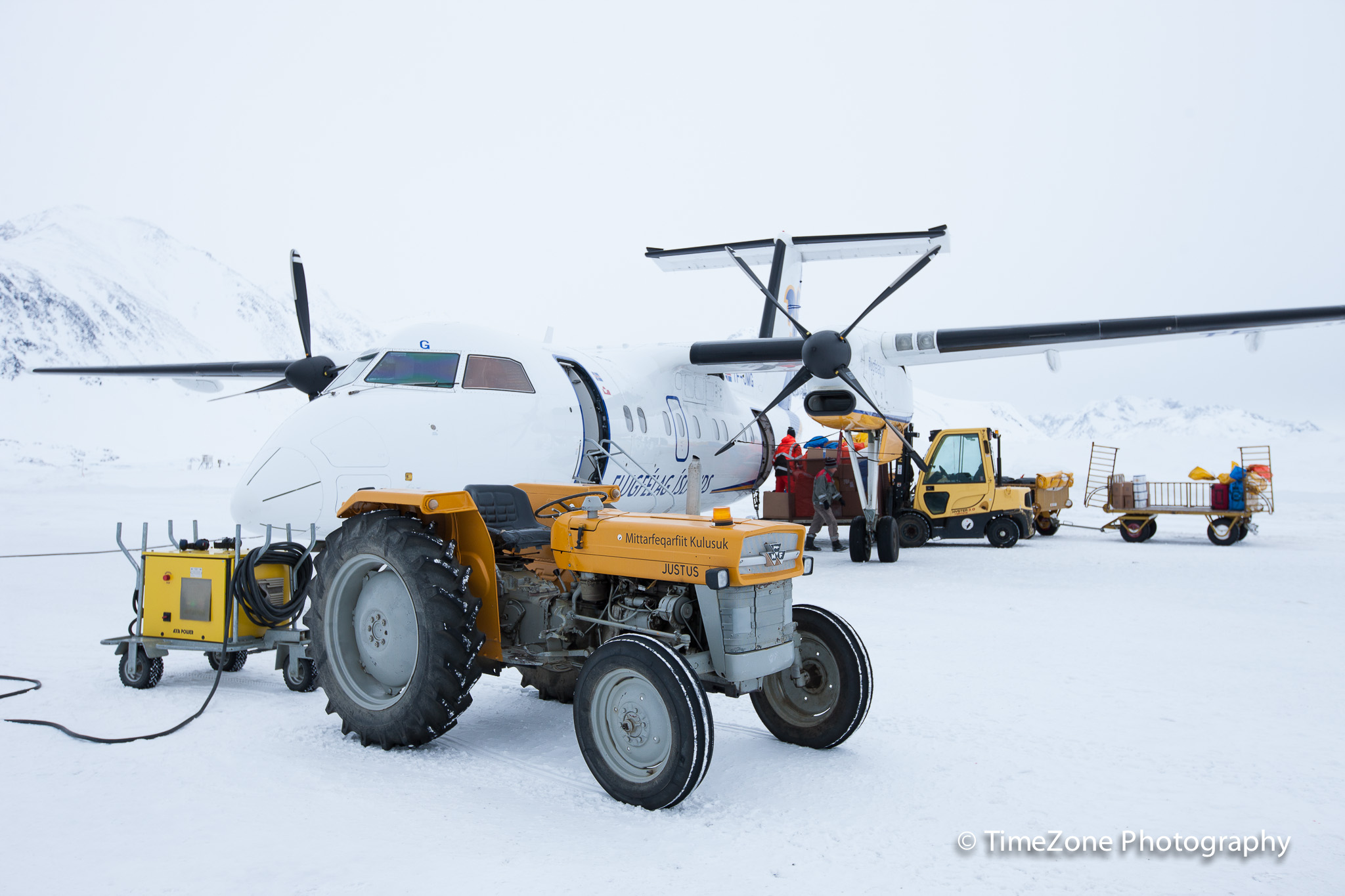Air Iceland De Havilland Dash 8-200 unloaded at Kulusuk on January 28th 2015.