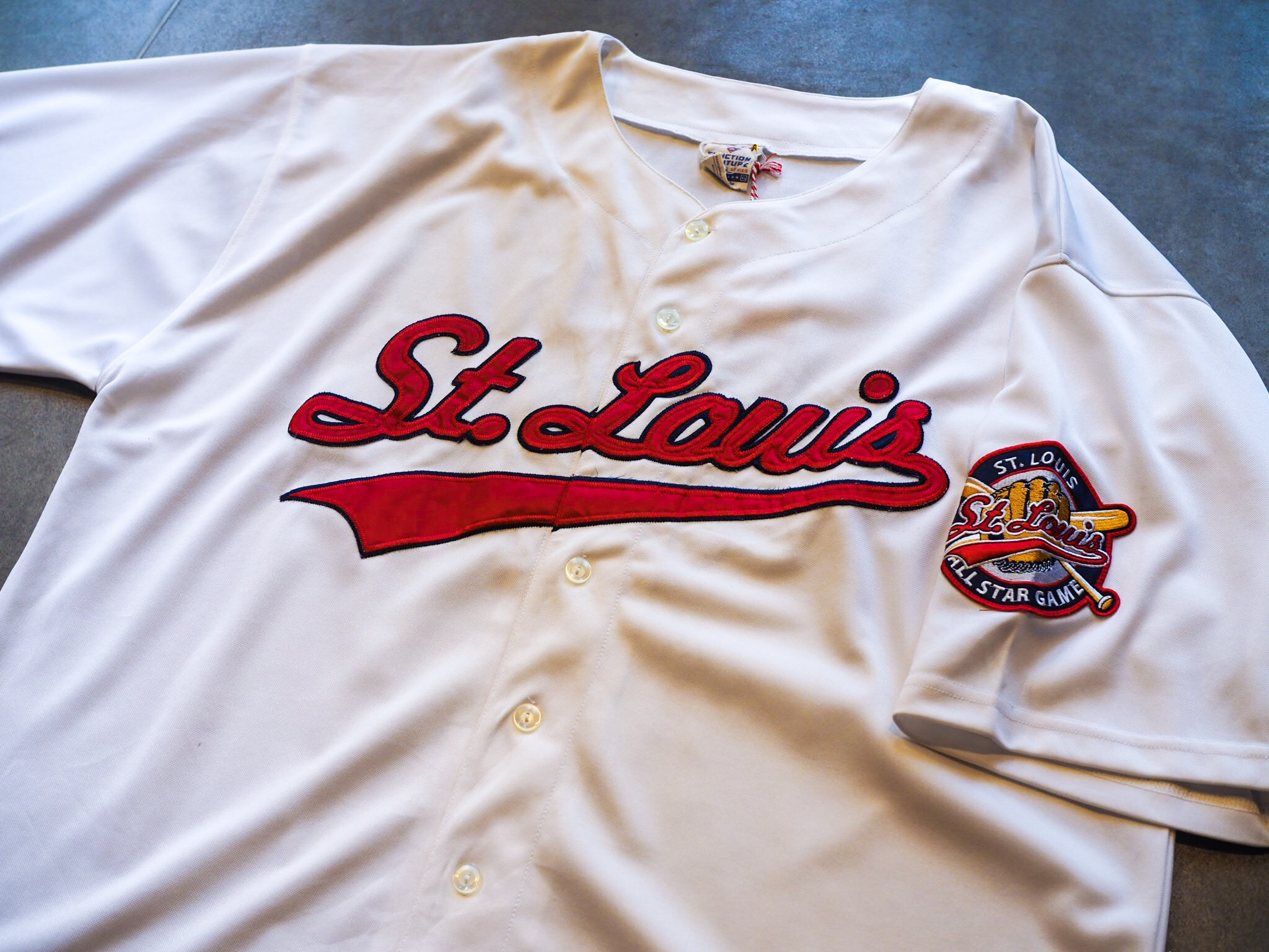 A classic 1980s/90s Baseball Jersey by Function and Future for the St. Louis team. You can't go wrong with that detailing across the chest and on the arm.