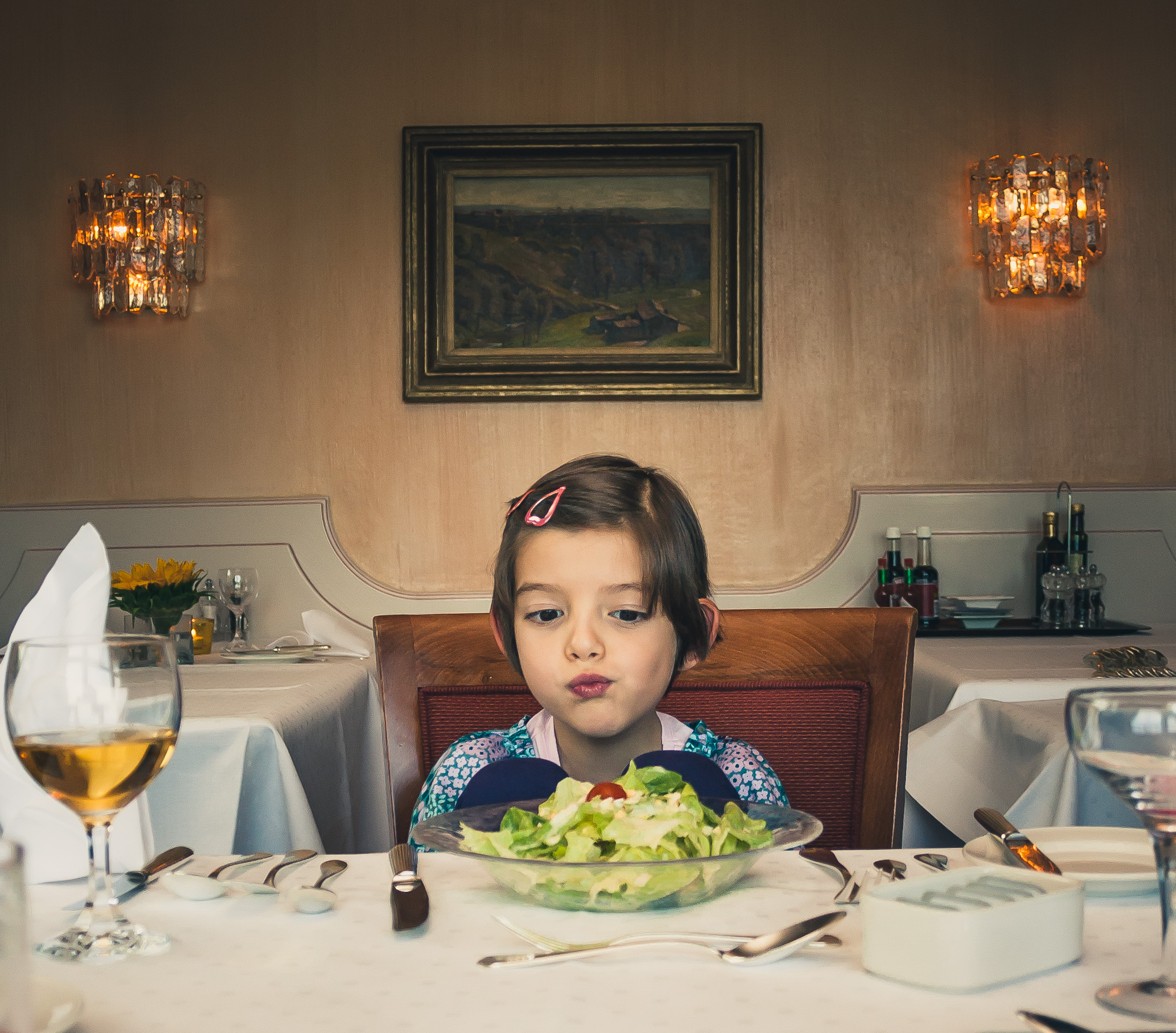 Confused Girl in Fine Dining Restaurant.