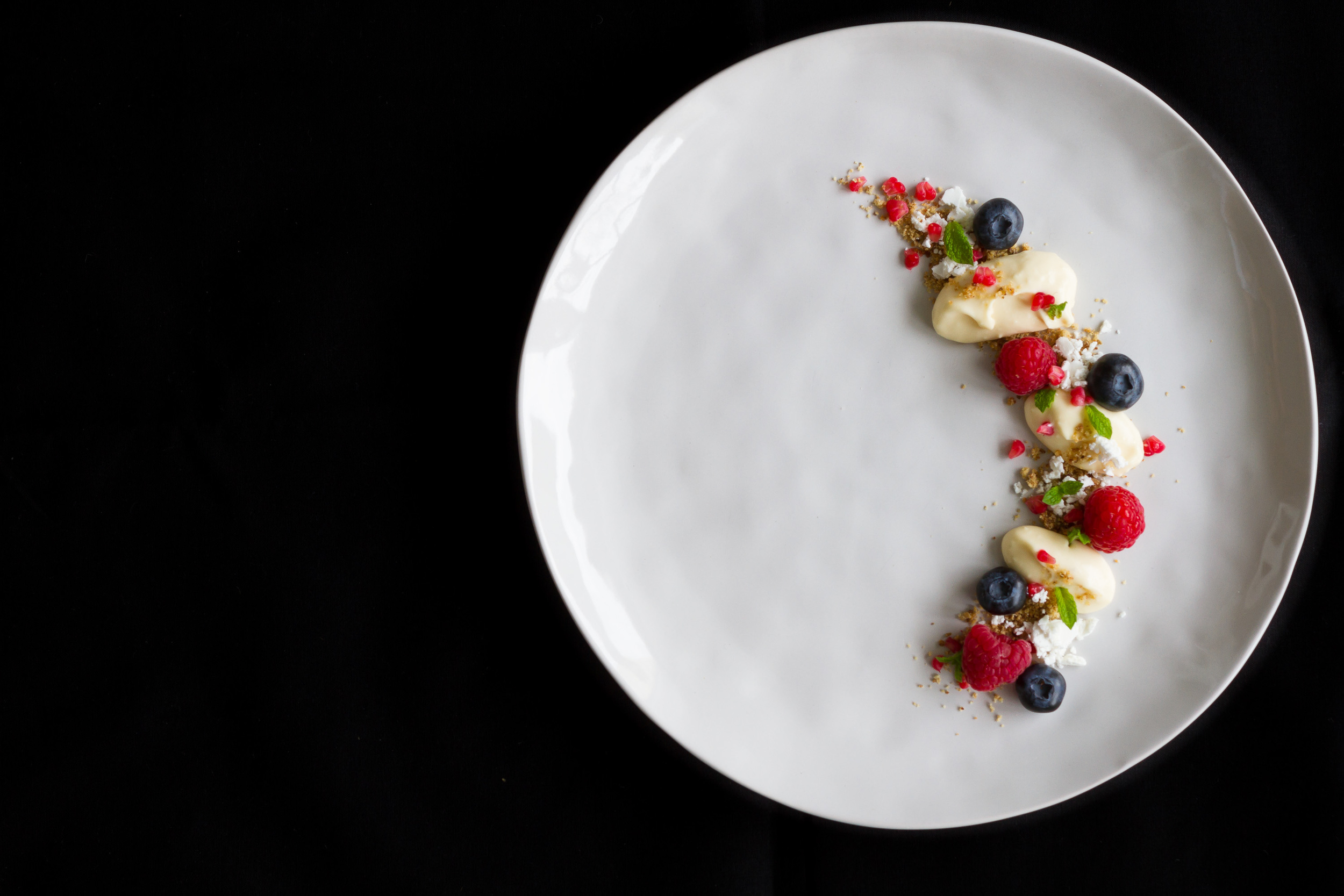 Honey mousse, fennel sand, fresh berries