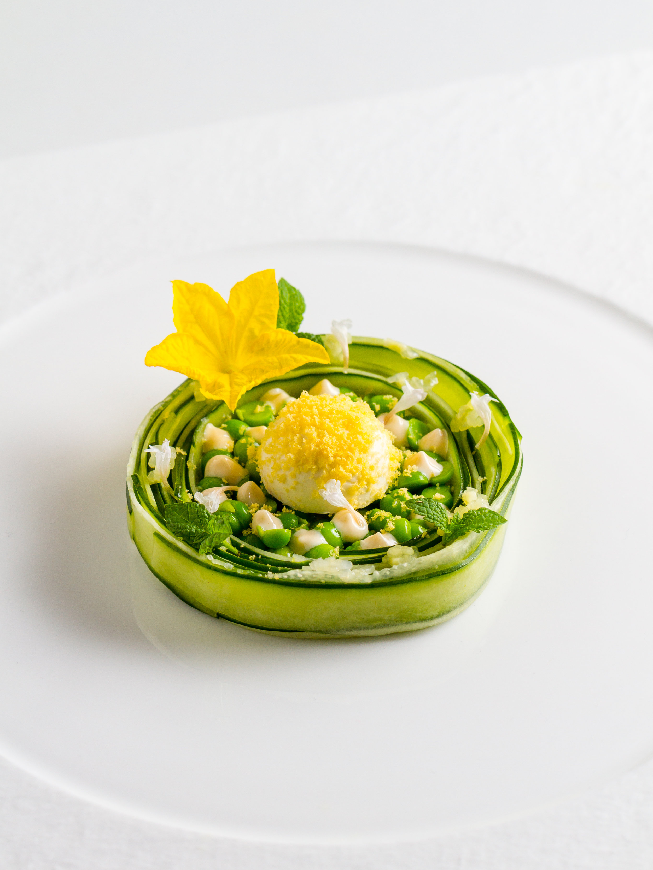 Cucumber, Miso-Mayonnaise, Cream Cheese, Peas and Cured Egg Yolk