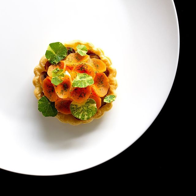 Another one from the archives Fermented carrots, cream cheese, sauté mushrooms, tarragon salt and parsley powder