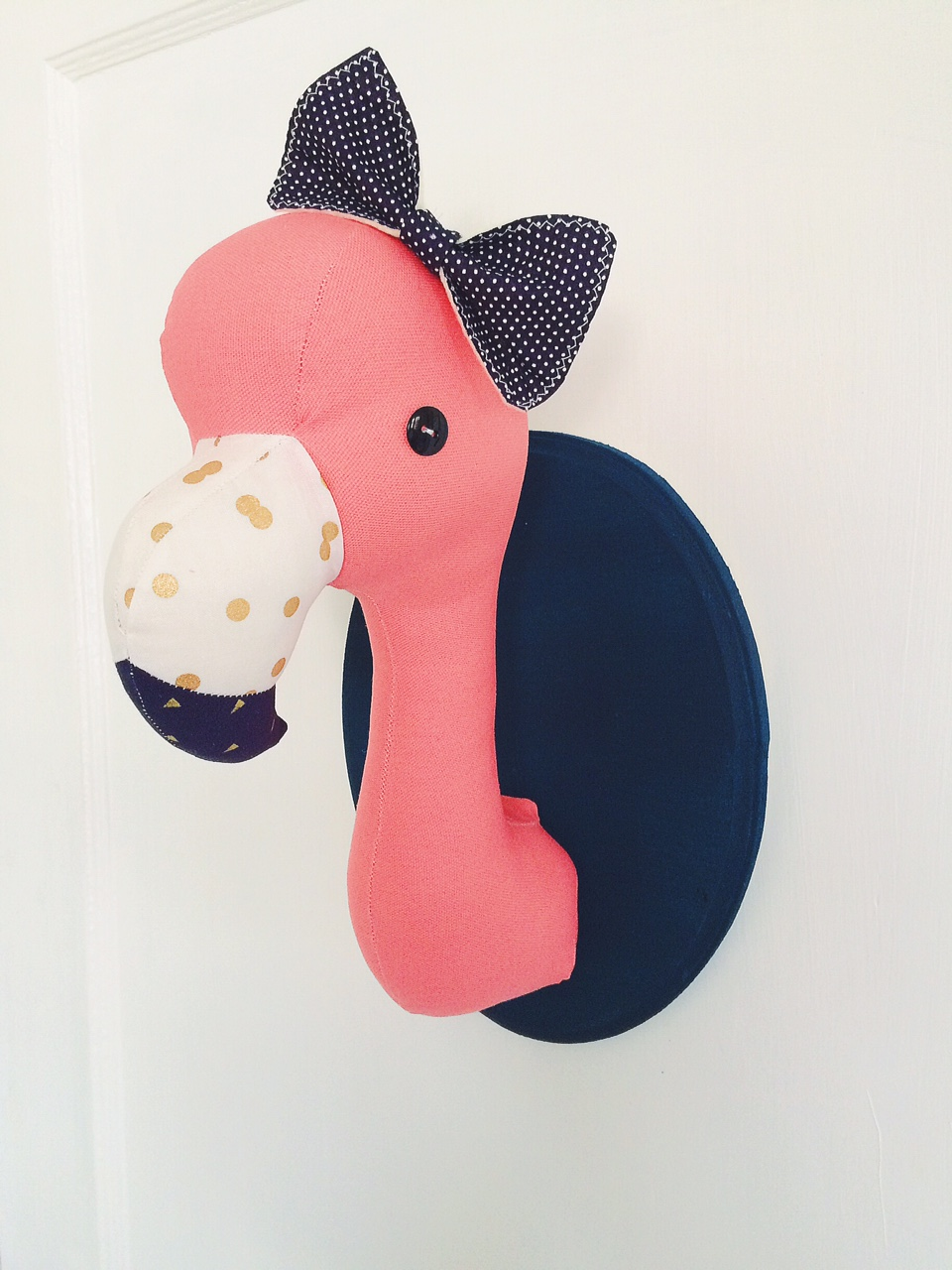 flamingo plush taxidermy wall decor