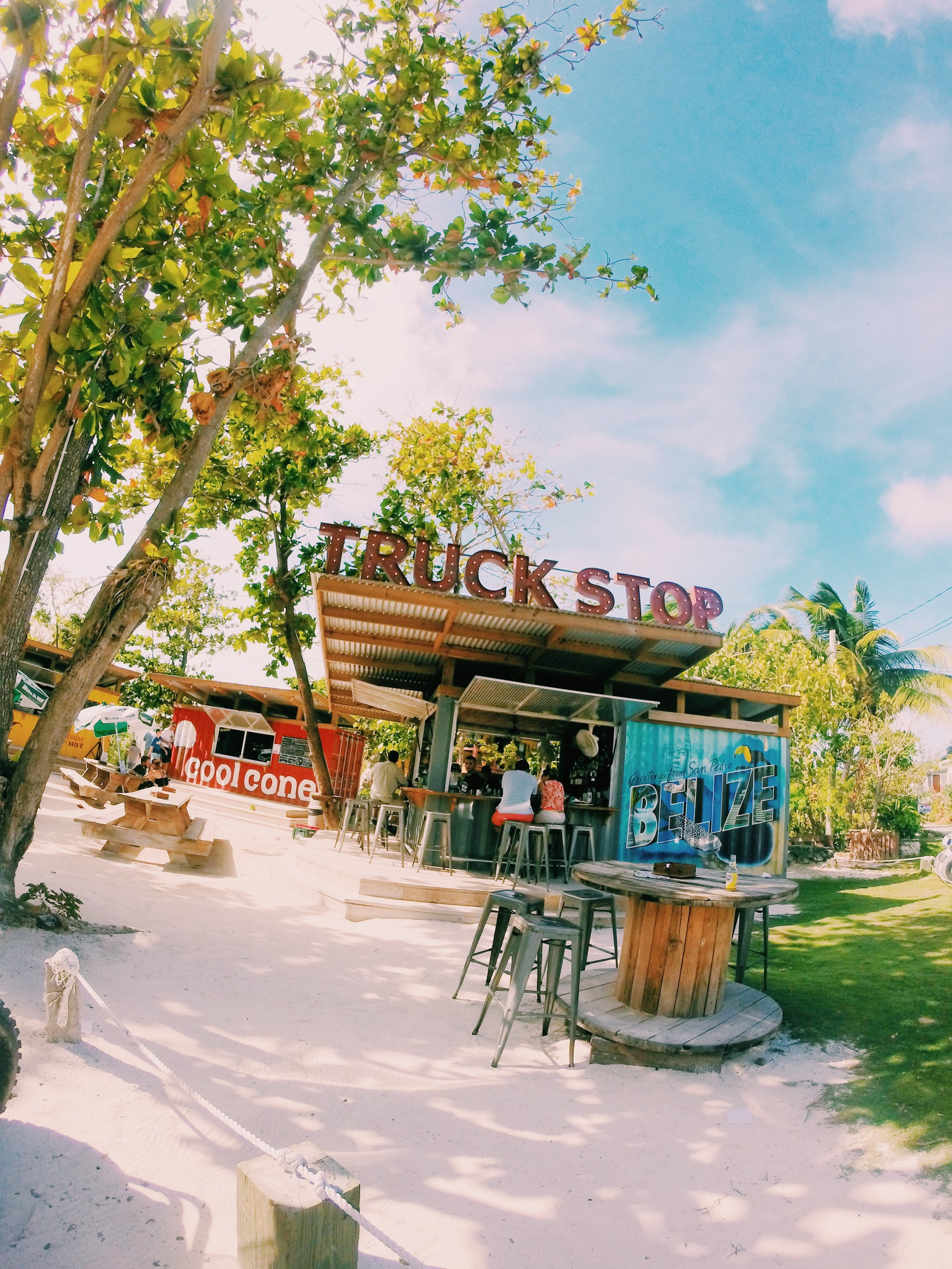 San Pedro, Belize. Truck Stop food trucks and yard games. Go on Sunday Funday!