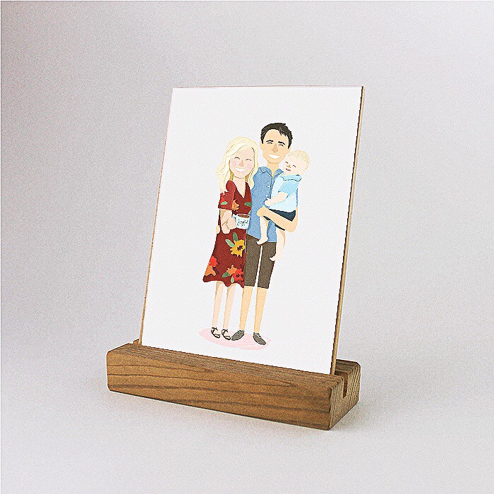 wooden block photo stand