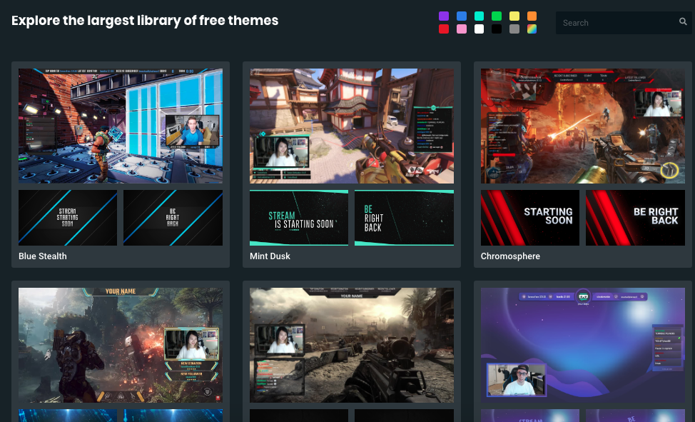 Some of the live stream theme options Streamlabs provides to users to customize their channels.