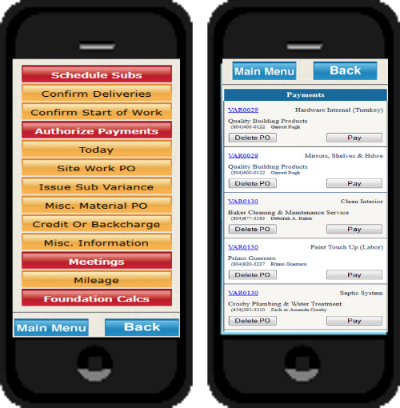 Mobile access for job site managers coupled with an option to signal to accountspayable that the PO has been completed and is ready for payment