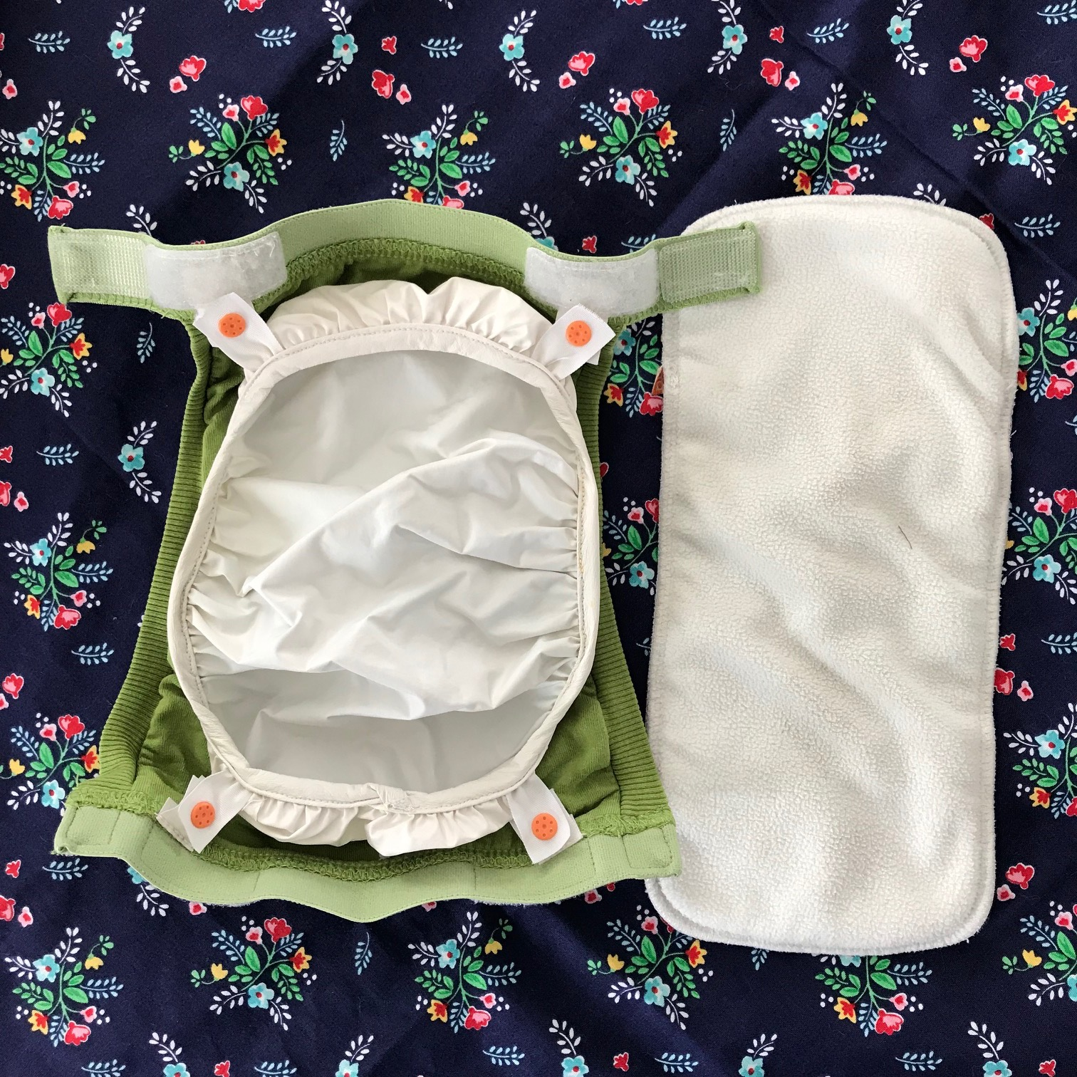 The  gDiaper  cage and a  gDiaper  insert that we got second hand. Reduce REUSE recycle!