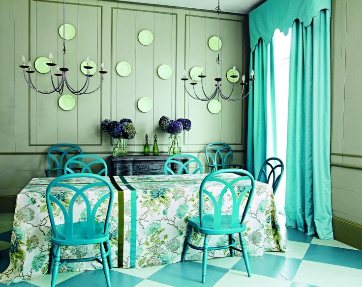 "Farrow & Ball Floor Paint Inspiration: :Stone Blue"" floor paint on white."