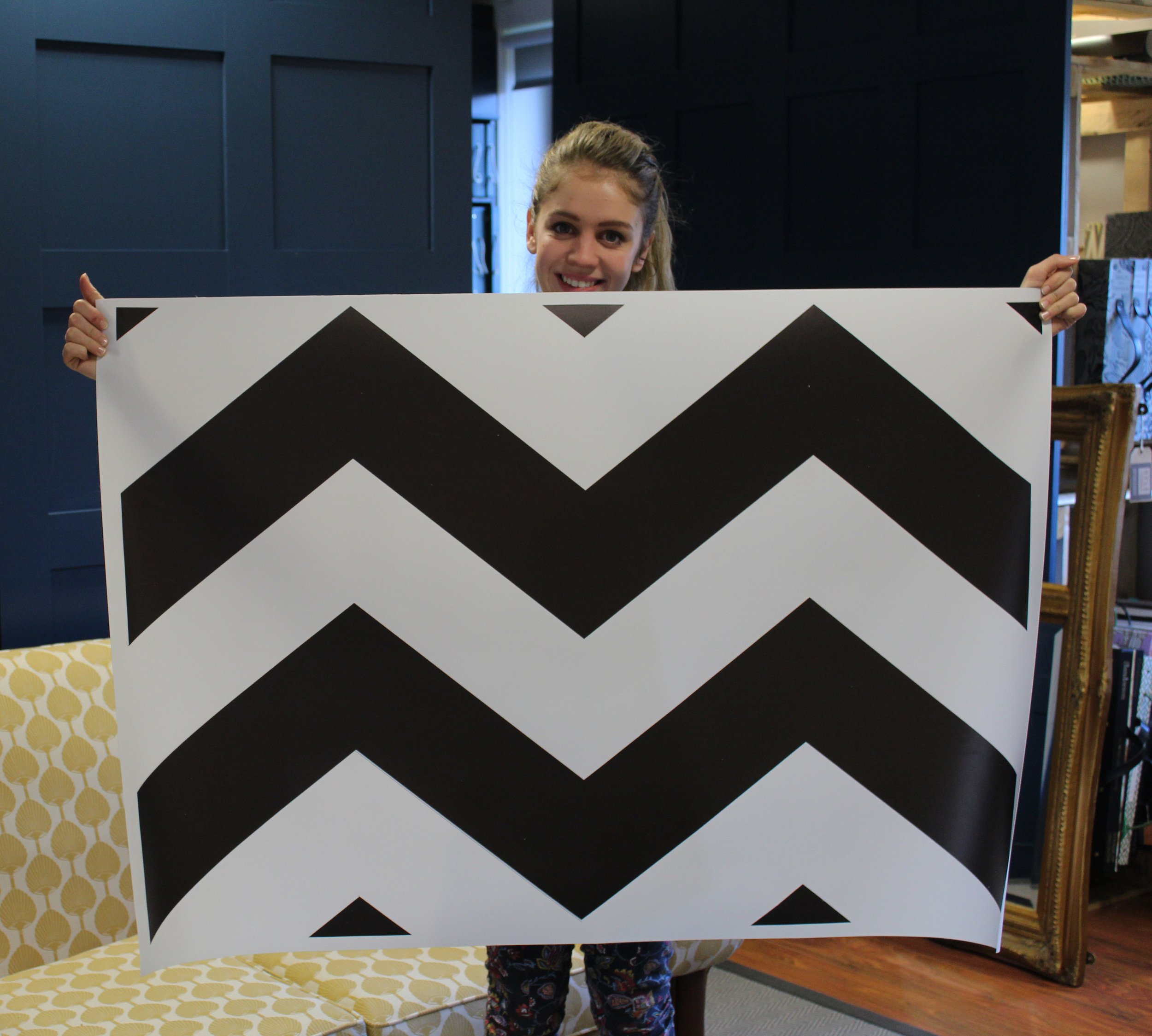 Fleur with our new stencil (not cut out yet!)