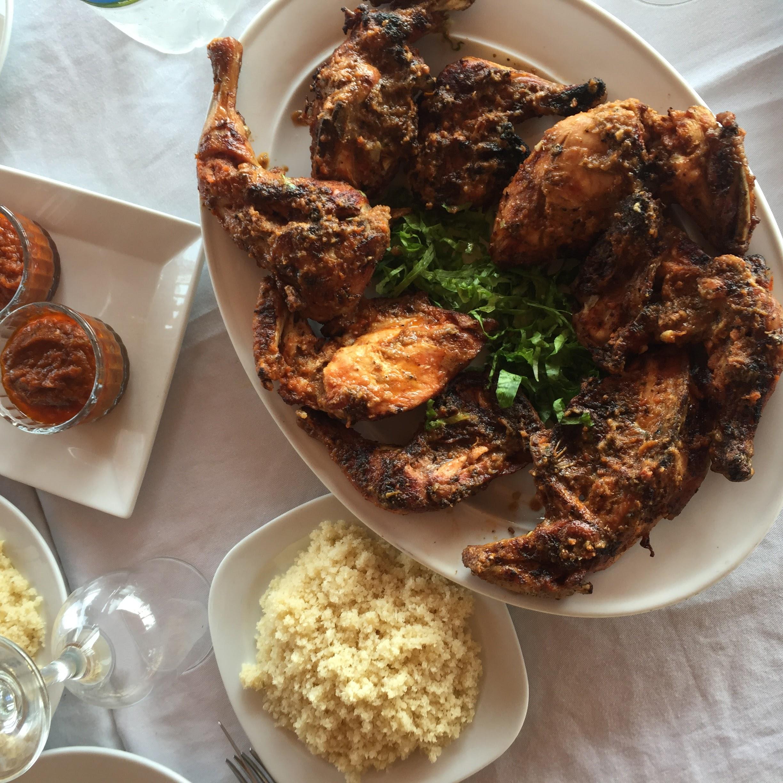 Grilled chicken and attiéké