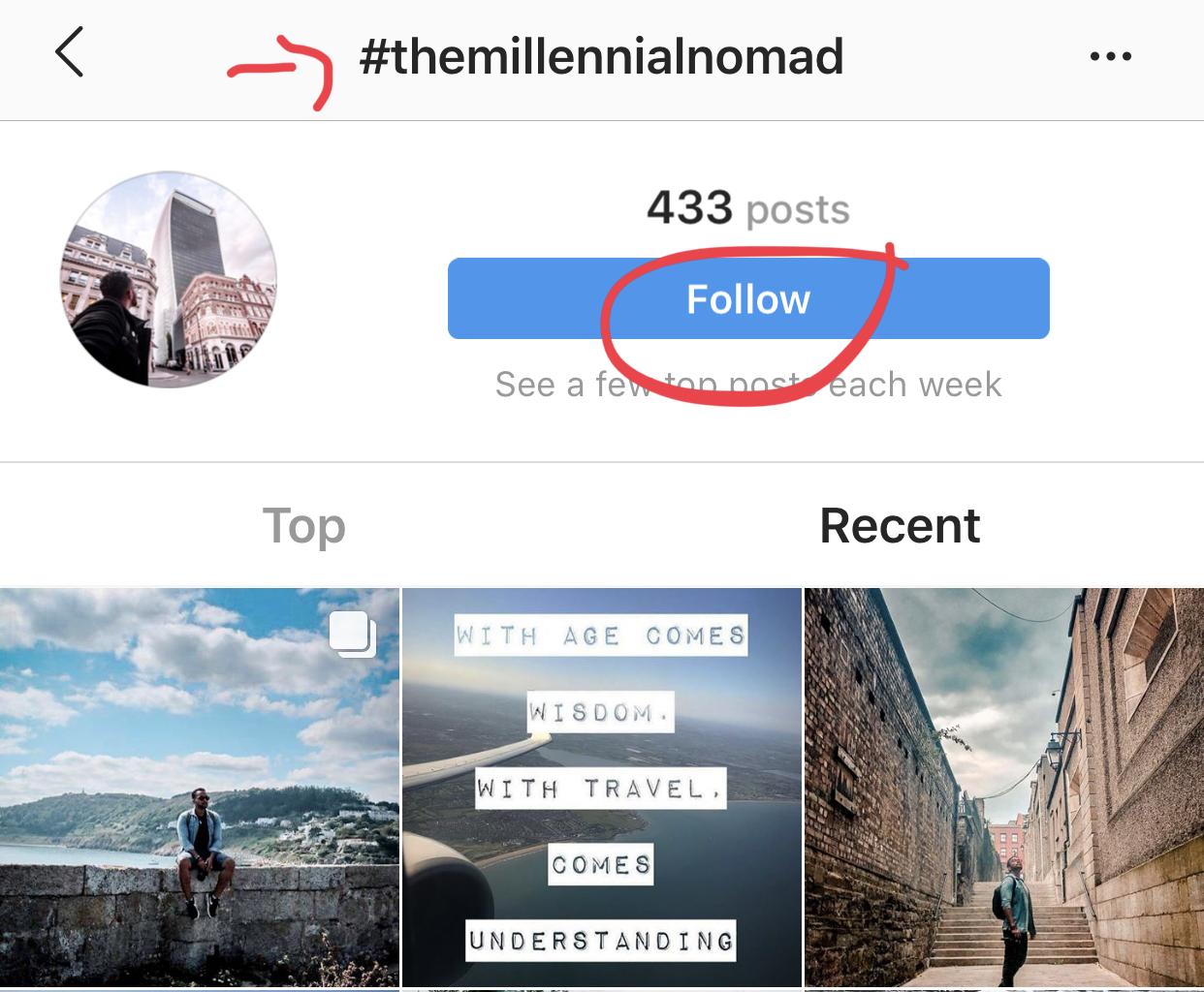 follow hashtags