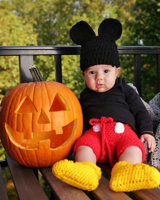 Beware! Cuteness overload #happyhalloween #Mickeymouse #homemade #jackolantern #baby #Halloween
