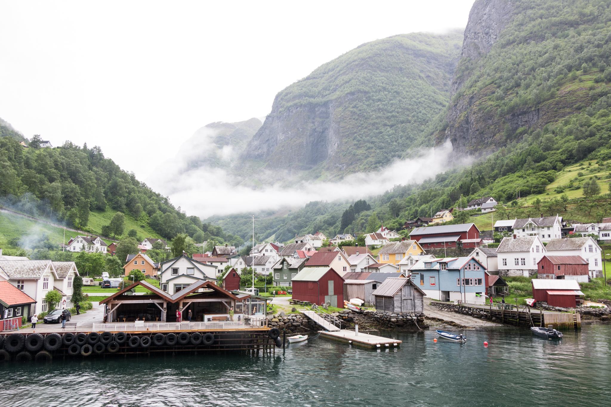 Ferry over Nærøyfjord and Aurlandsfjord to Flåm, Norway