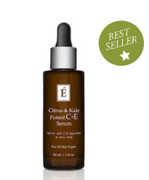 CITRUS AND KALE POTENT C & E SERUM  Fast-absorbing, advanced serum for all skin types. This potent dose of non-irritating Vitamin C is stabilized by botanically-derived ferulic acid to deliver optimal antioxidant benefits and improve the appearance of skin.  Collagen formation is boosted and skin appears firmed and plumped!  This is an all in one serum that evens skin tone, anti-aging collagen building, firming, free radical fighter.