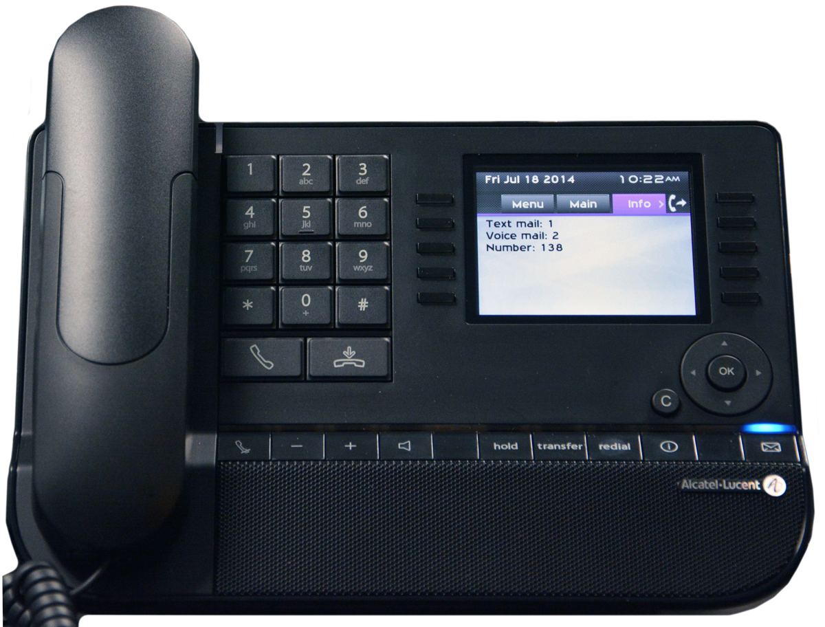 Alcatel-Lucent 8068 telephone with color display, showing the unread text and voice messages that have been sent to the phone.