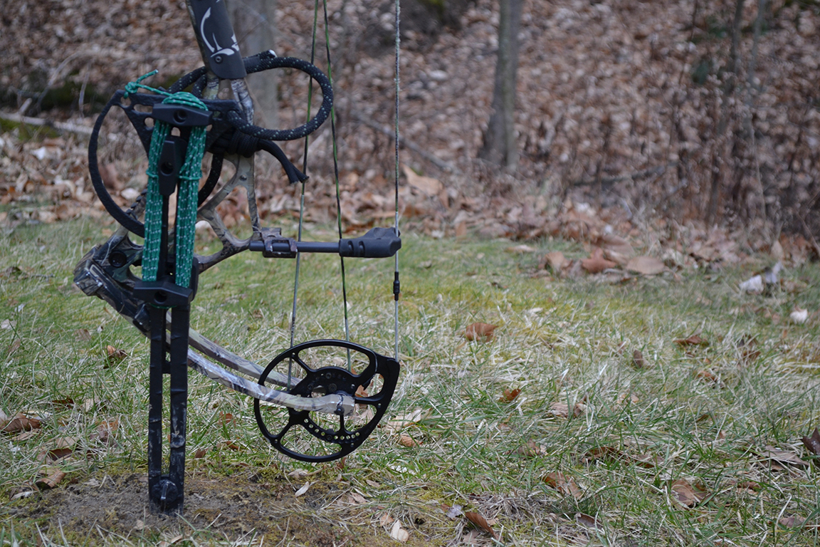 BowDagger: The newest bow hunting accessory with multi-functional mounting slots to act as a bow stand, stabilizer and cam protector.