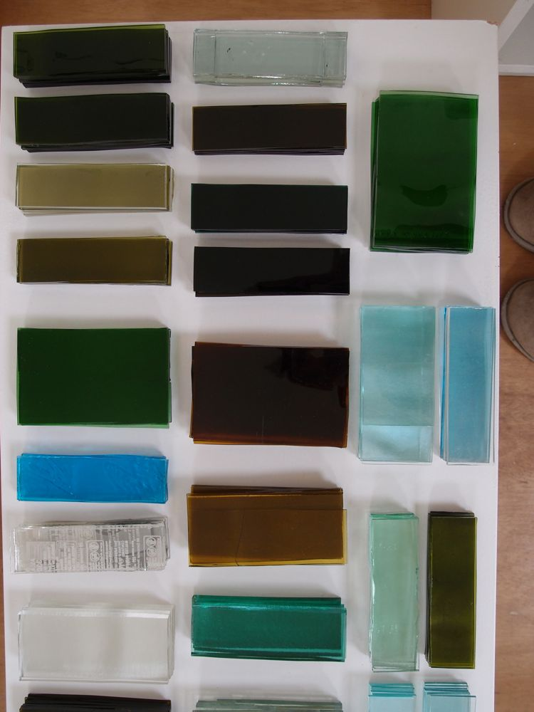 Bottle glass sheets cut to size