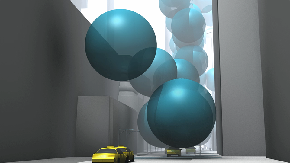 Street-level view of 10 metre (33 ft) spheres of carbon dioxide gas emerging at a rate of one every 0.58 seconds