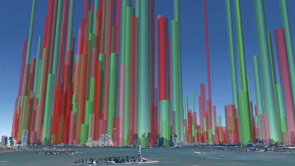 Volume of air saturated daily by Clean Heat buildings (square-base towers) - a ground level view. Red volumes: #6 oil, Pink volumes: #4 oil, Green volumes: Converted