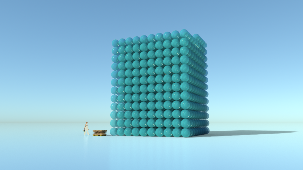 The images show a tonne of cement (20 x 50kg) alongside the 1.25 tonnes of carbon dioxide gas associated with production. The spheres are kg spheres. The 1.25 tonnes is taken from the  IPCC .