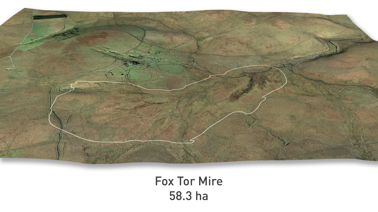 Figure 3. Aerial photograph of Fox Tor Mire, the white line shows the extent of the 58.3 hectare peat body