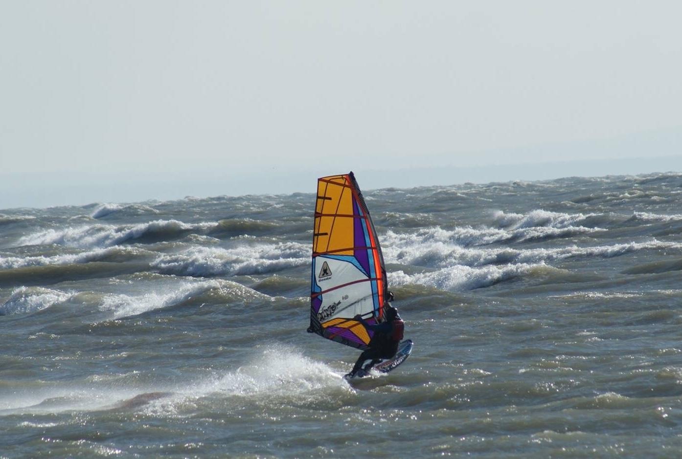 Windsurfing on Lake Erie.