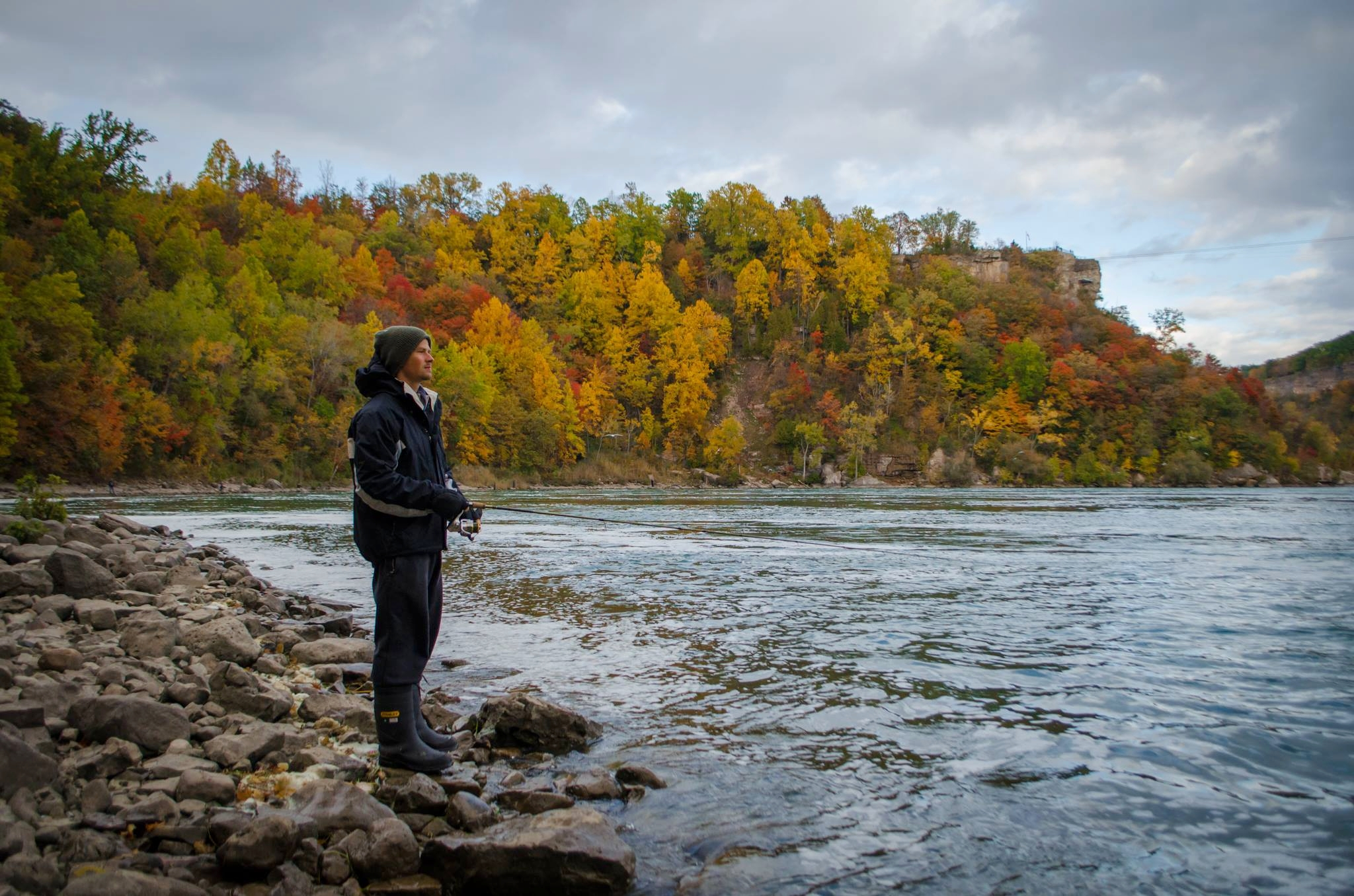 Brendan fishing at the whirlpool in Niagara Falls, 2015.