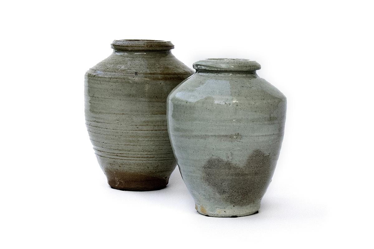 Antique Celadon Ceramic Apothecary Jars